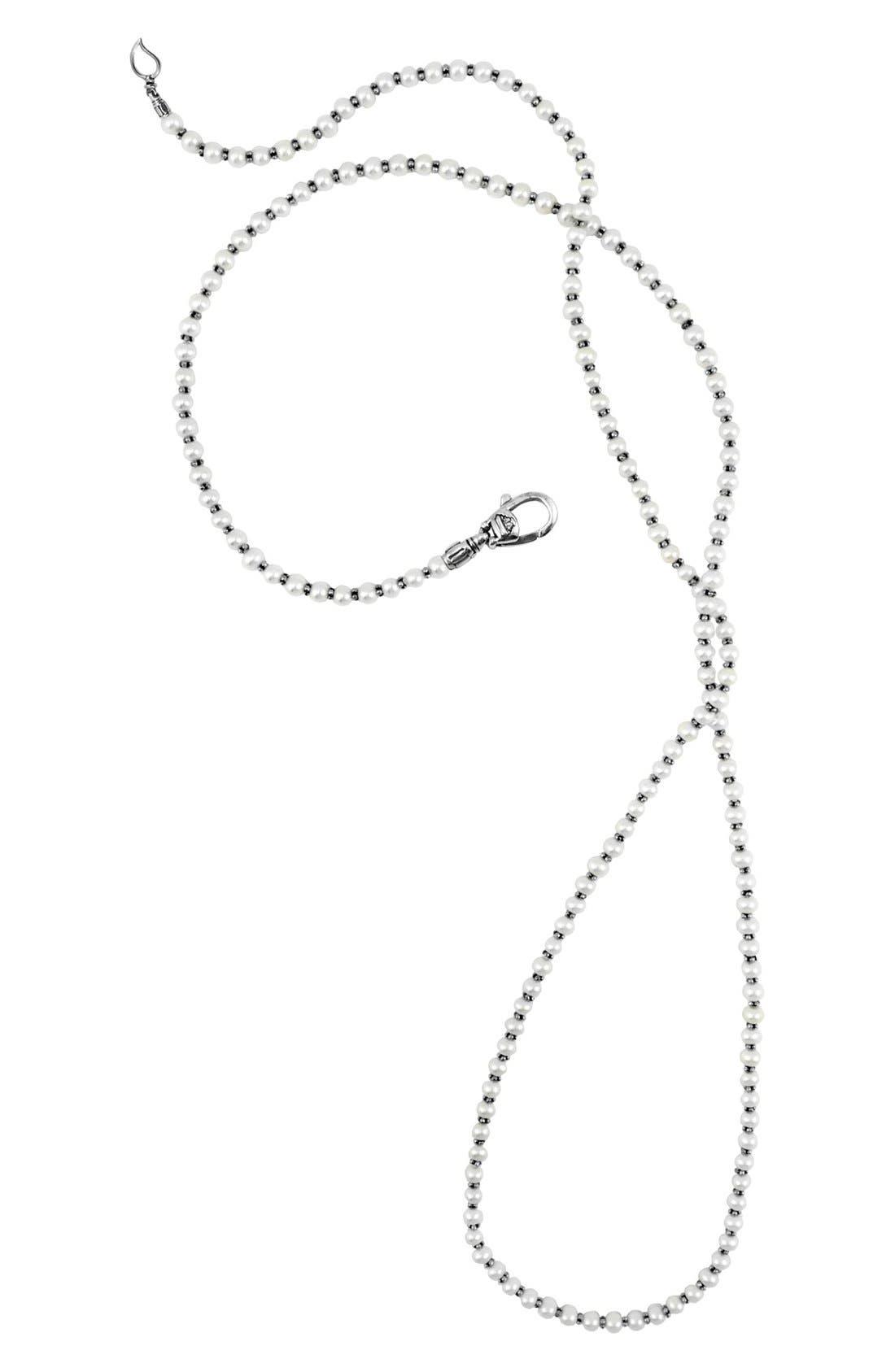 'Luna' Long Micro Bead & Pearl Necklace,                         Main,                         color, Silver/ Pearl