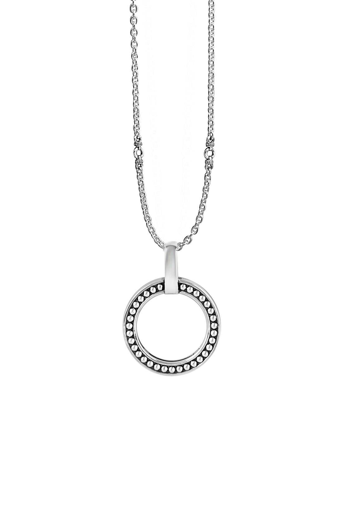 'Enso' Caviar Pendant Necklace,                         Main,                         color, Silver
