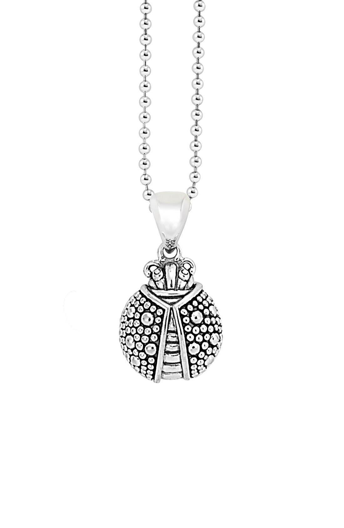 'Rare Wonders - Ladybug' Long Talisman Necklace,                             Main thumbnail 1, color,                             Silver