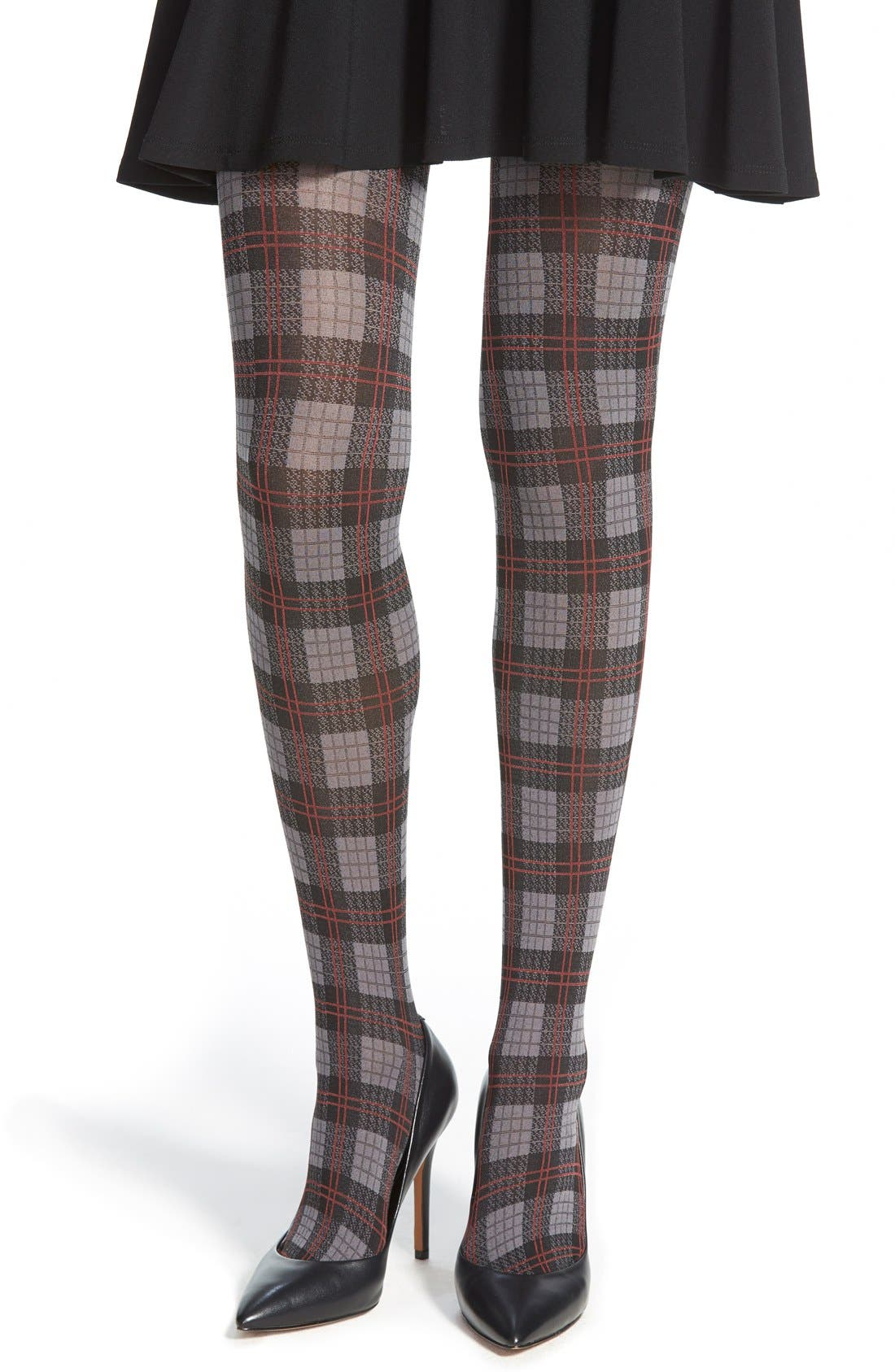 Alternate Image 1 Selected - Hue 'English Plaid' Control Top Opaque Tights
