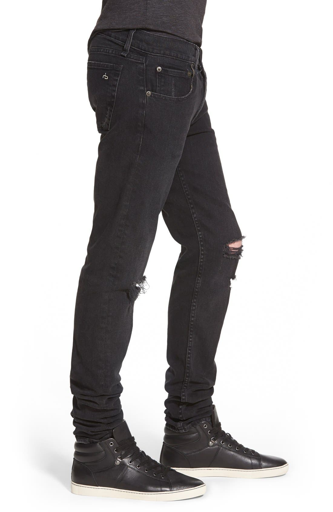 Alternate Image 3  - rag & bone Standard Issue 'Fit 1' Skinny Fit Jeans (Rock with Holes)