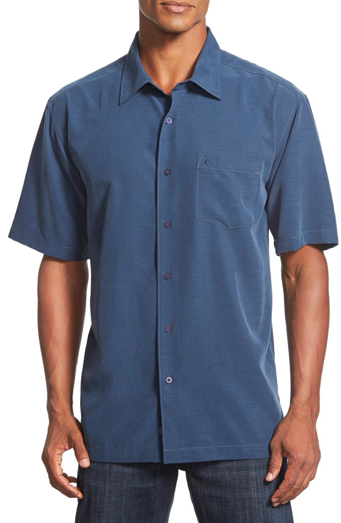 'Clear Days' Regular Fit Short Sleeve Sport Shirt,                         Main,                         color, Night