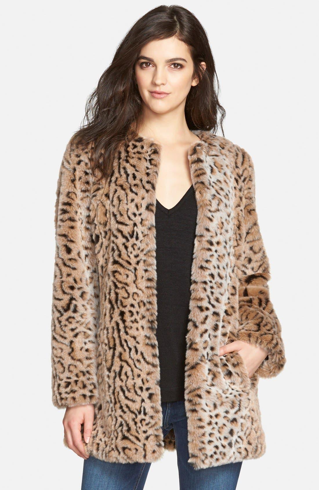 Faux Fur Leopard Print Coat,                             Main thumbnail 1, color,                             Leopard