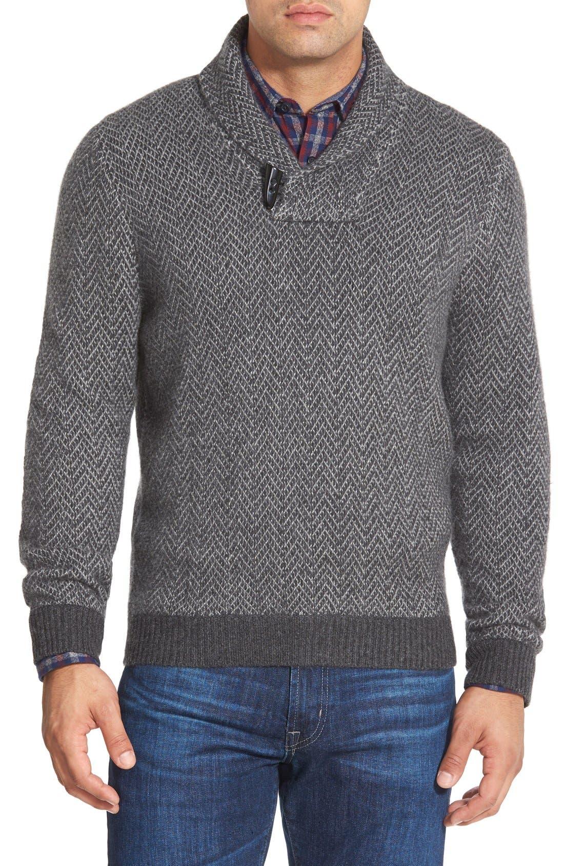 Alternate Image 1 Selected - John W. Nordstrom® Shawl Collar Cashmere Sweater (Regular & Tall)