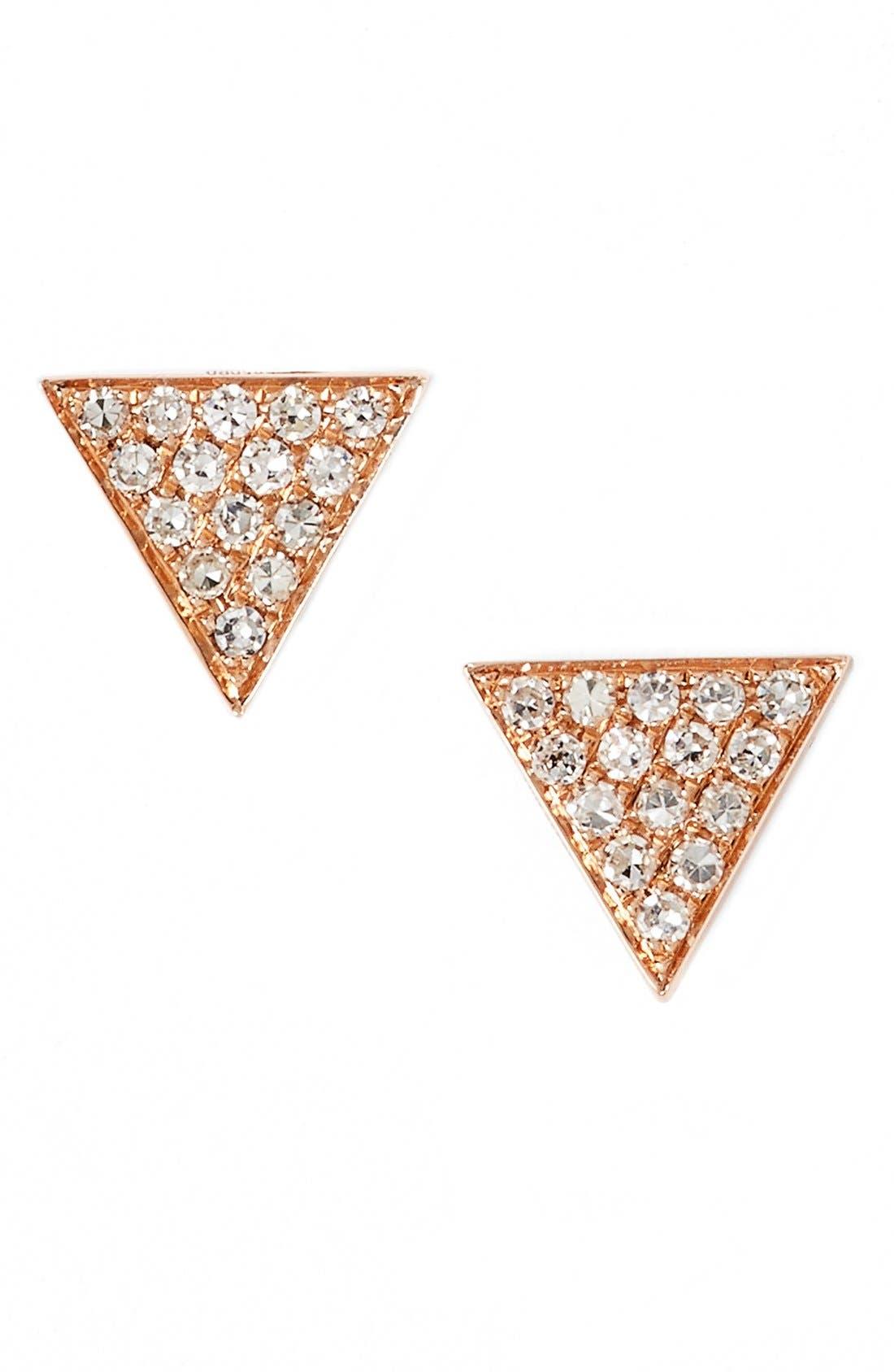 'Emily Sarah' Diamond Pavé Triangle Stud Earrings,                         Main,                         color, Rose Gold