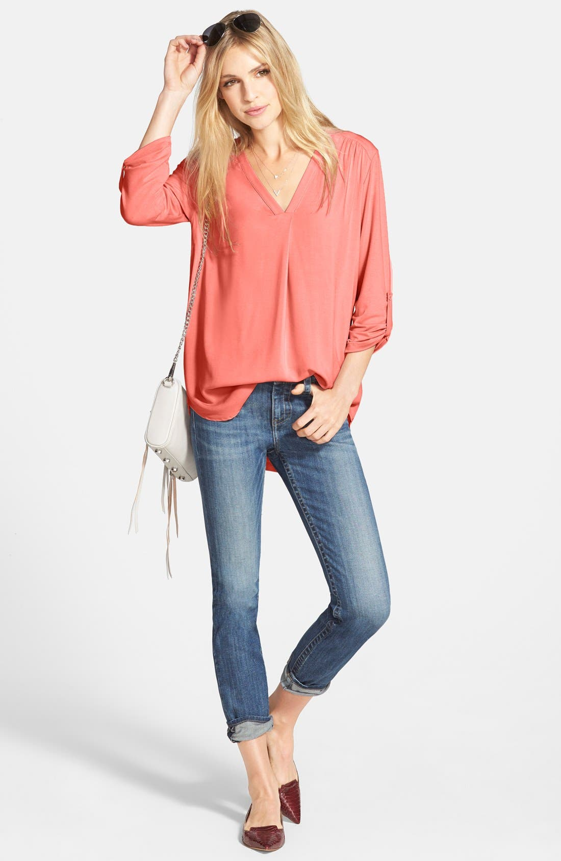 Alternate Image 2  - Pleione Mixed Media V-Neck Tunic (Regular & Petite) (Nordstrom Exclusive)