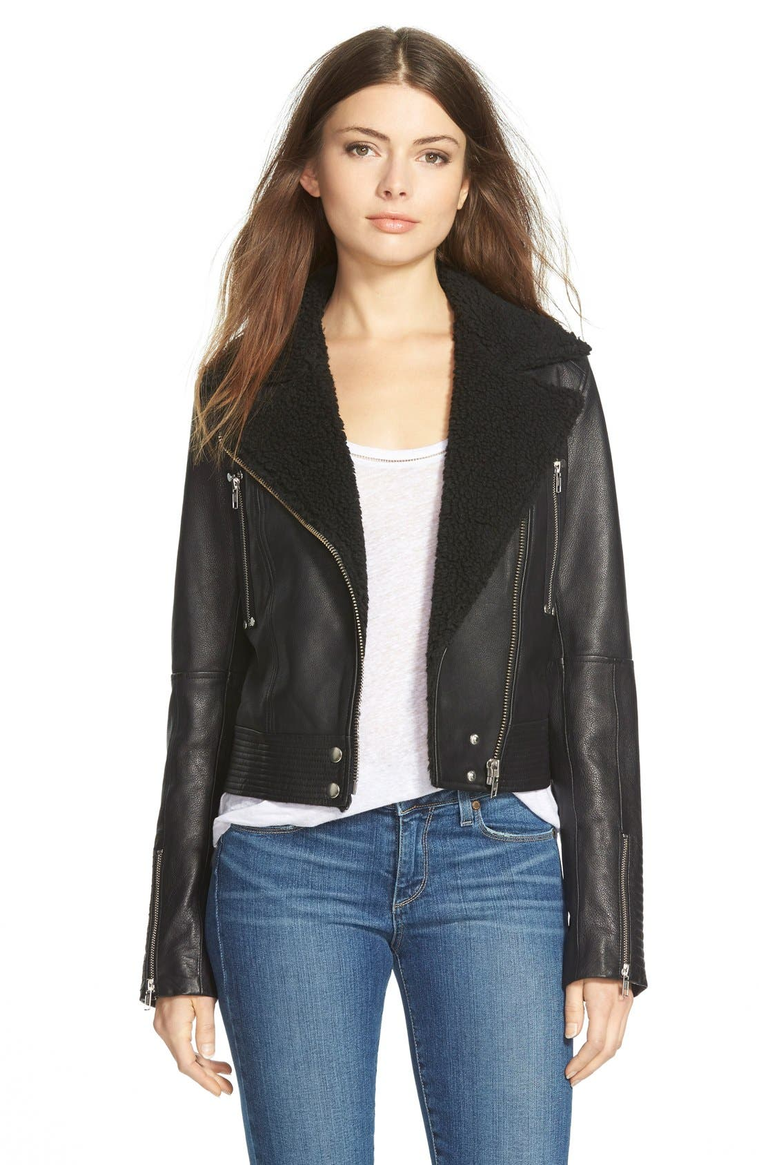Denim 'Rooney' Leather Jacket with Faux Shearling Collar,                             Main thumbnail 1, color,                             Black