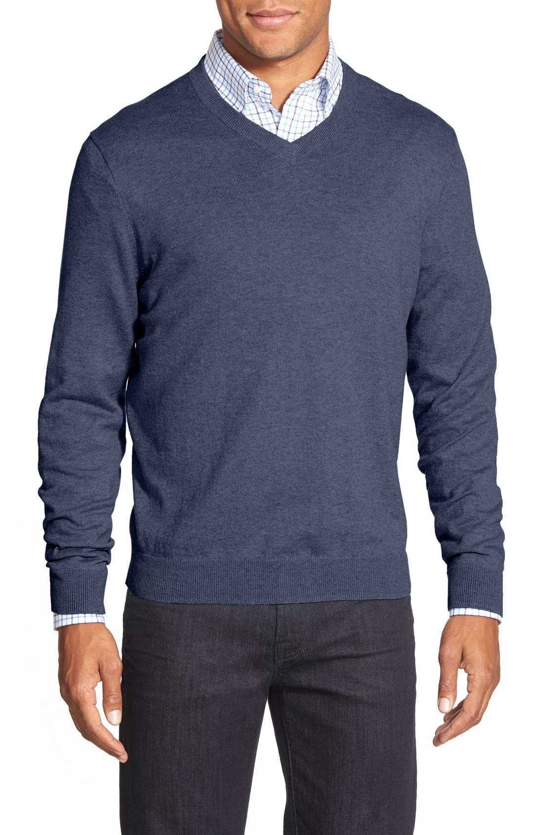 Nordstrom Men's Shop Cotton & Cashmere V-Neck Sweater (Regular & Tall)