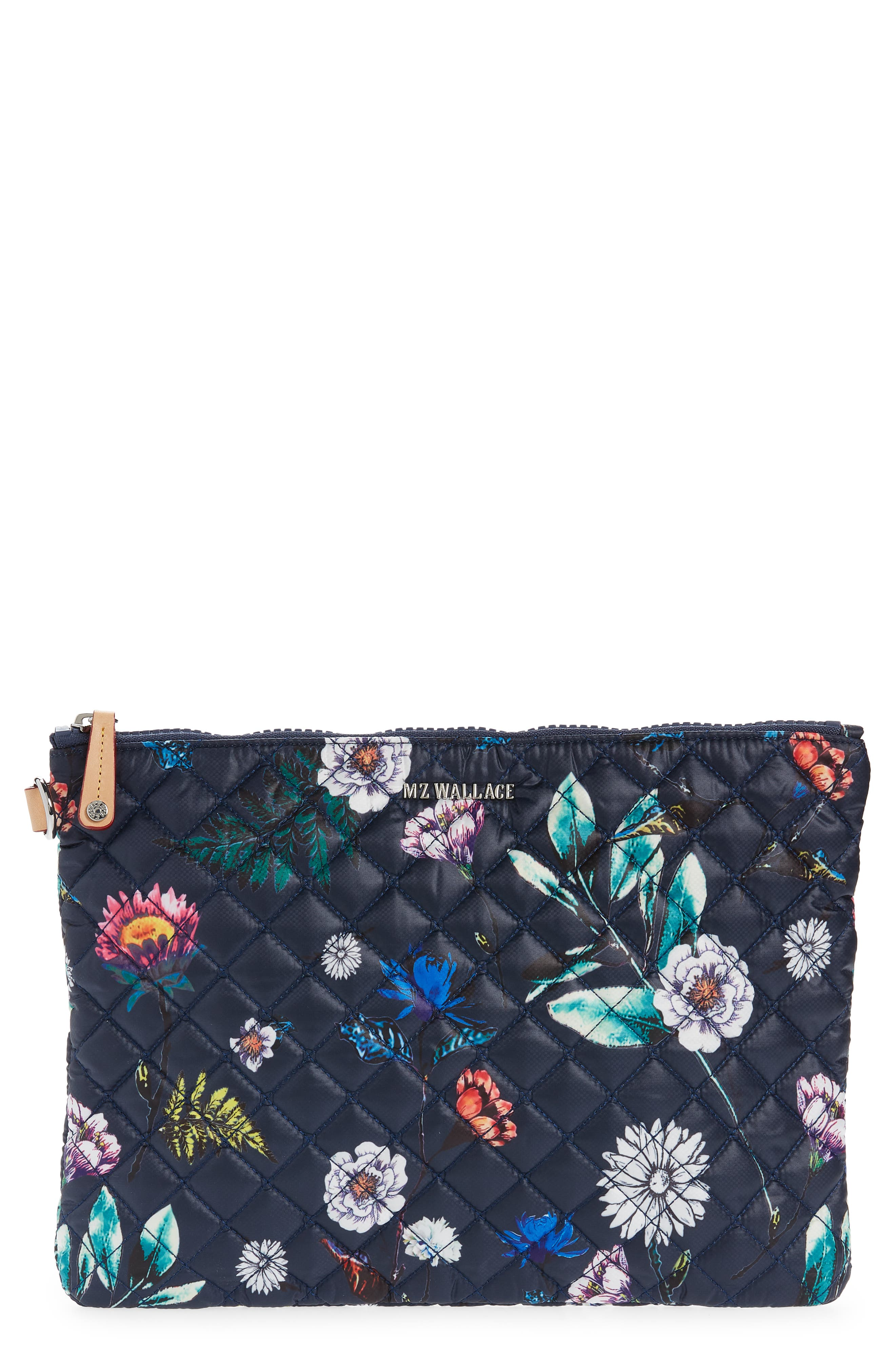 Multi Dogs on Floral Blue Wristlet Clutch  Faux Leather Back