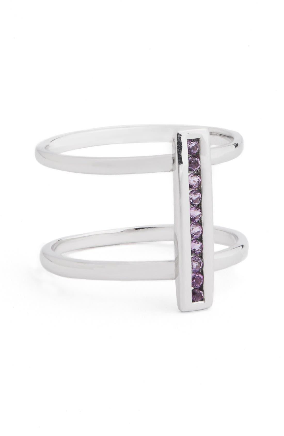 'Licol' LightAmethyst Bar Ring,                         Main,                         color, Silver Pink