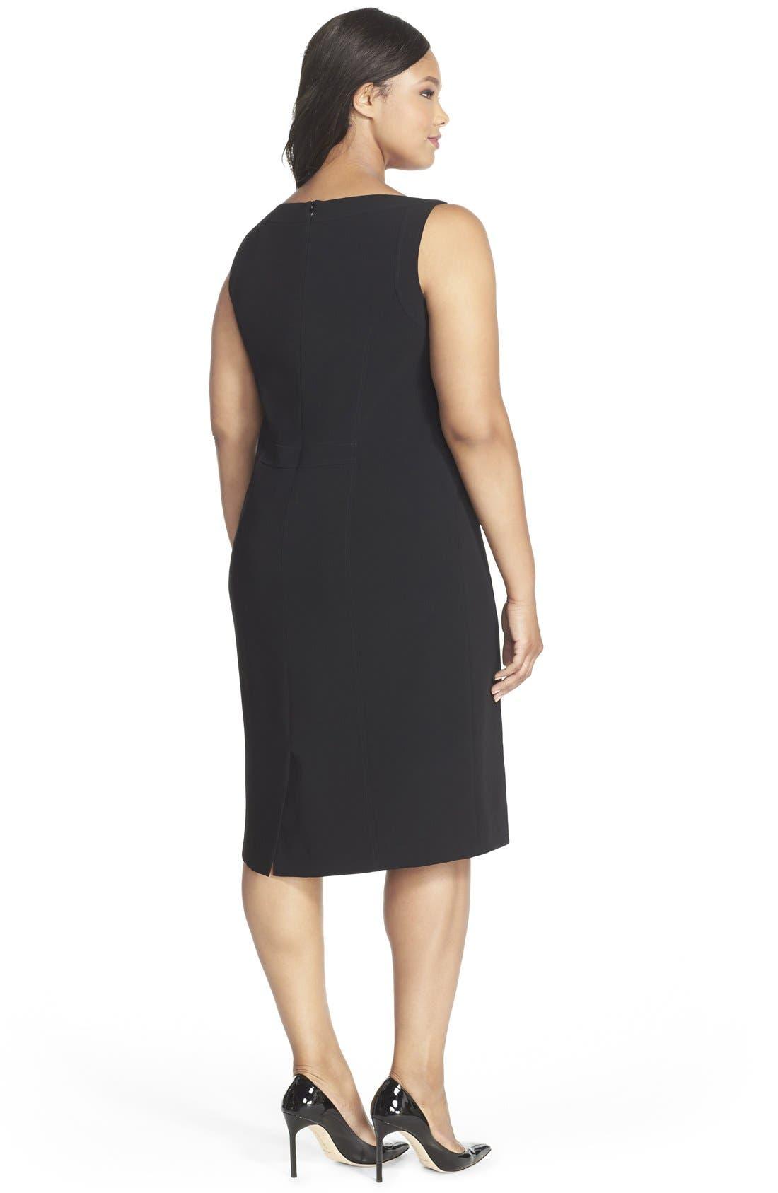 Alternate Image 2  - Louben Sleeveless Suiting Sheath Dress (Plus Size)