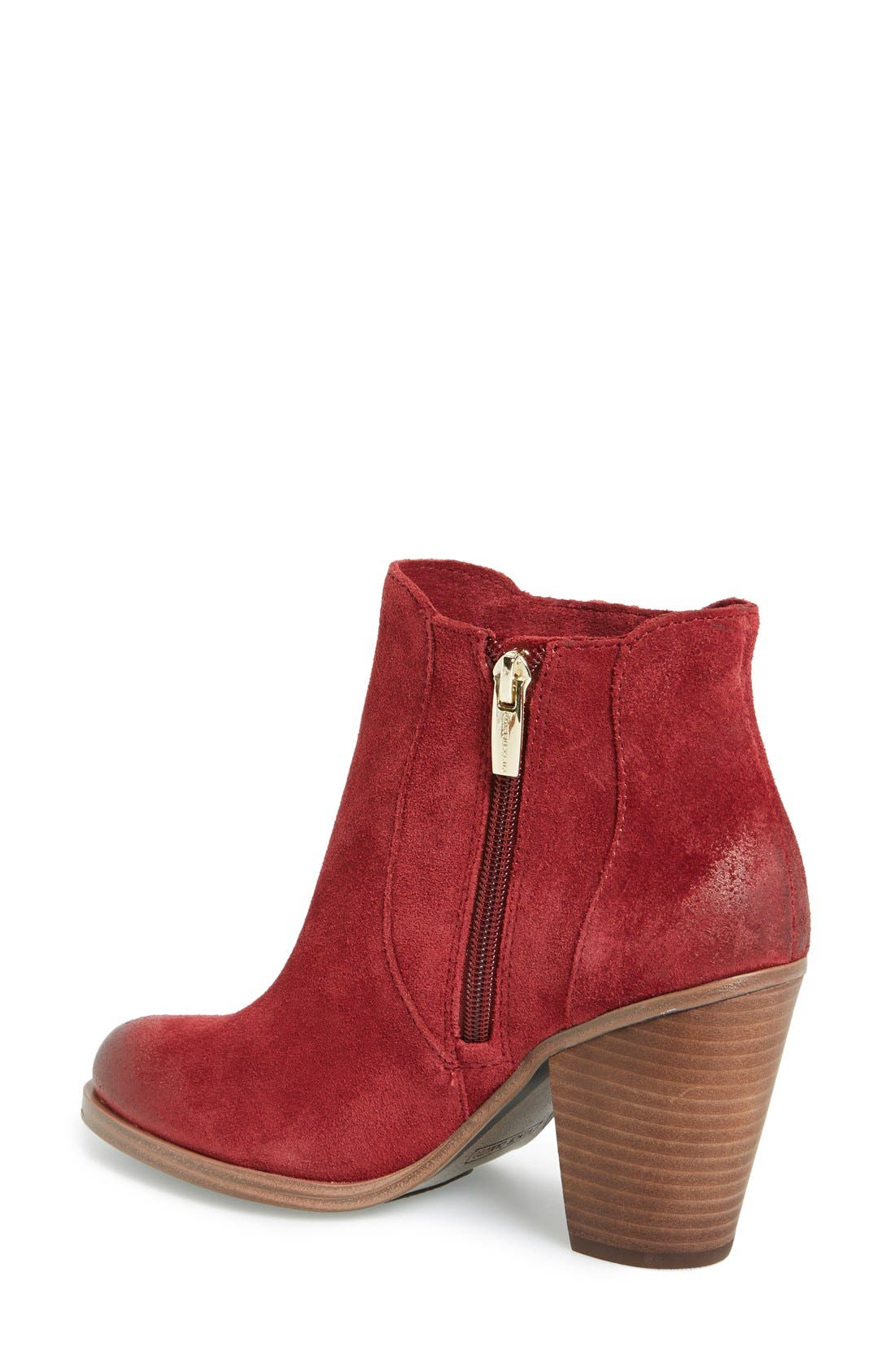 'Harlin' Fringe Bootie,                             Alternate thumbnail 2, color,                             Chianti Suede