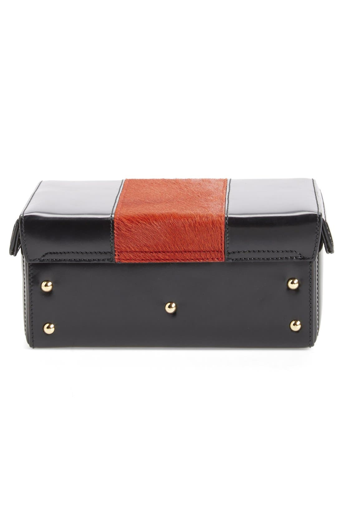 'Grace - Small' Smooth Calfskin & Genuine Calf Hair Box Trunk,                             Alternate thumbnail 5, color,                             Black/Blood Orange