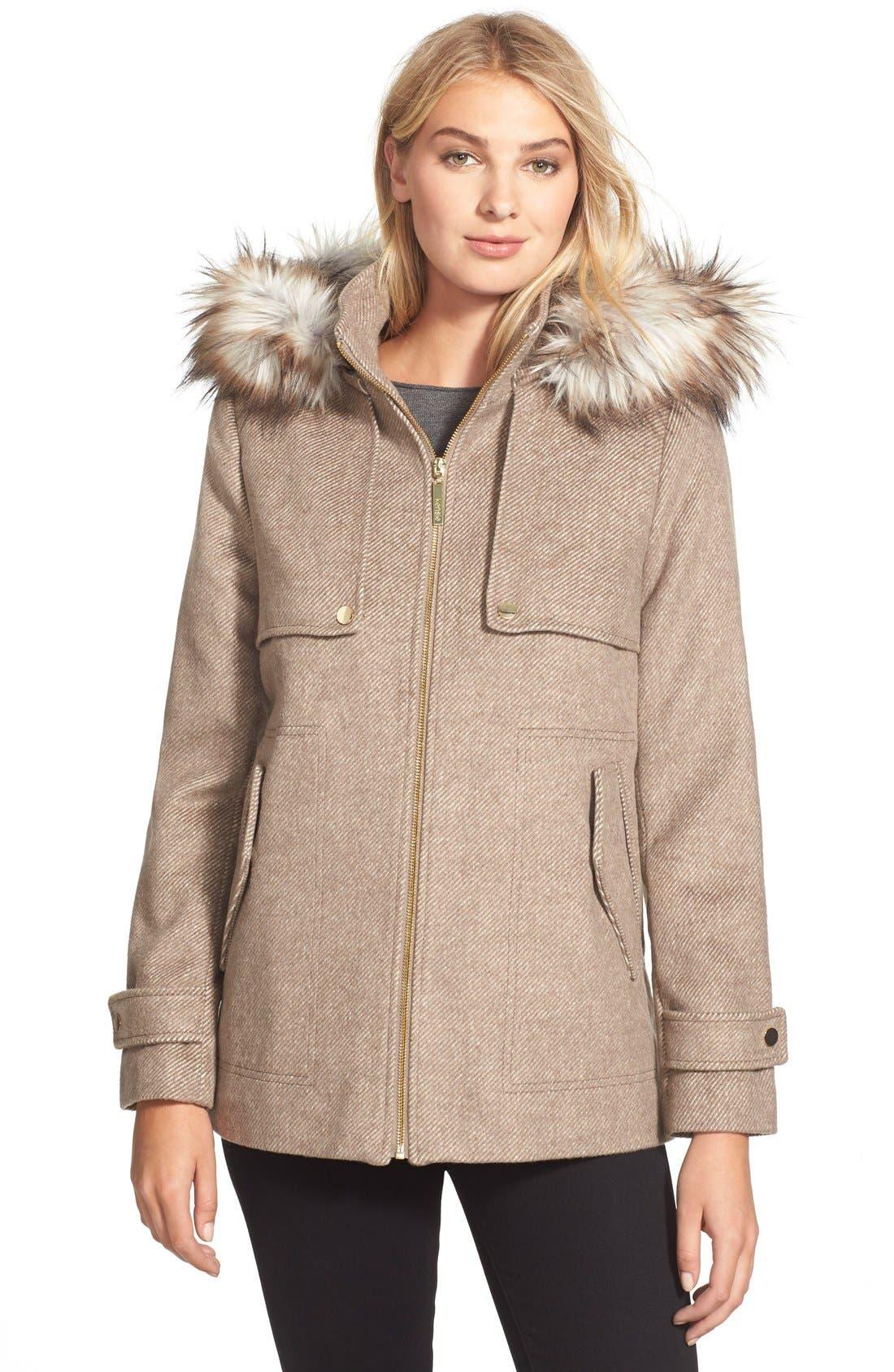 Black faux fur hooded duffle coat