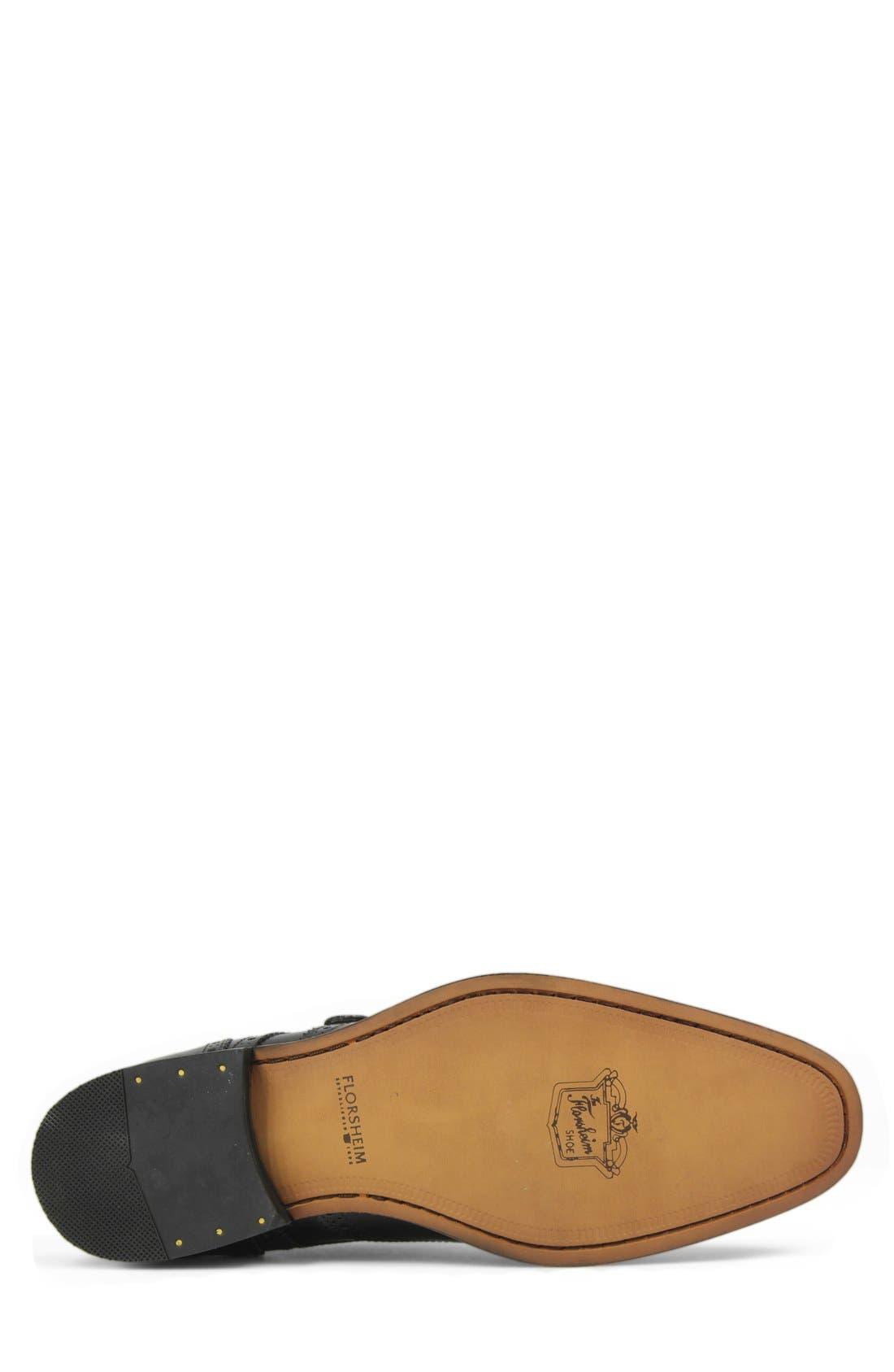 'Sabato' Wingtip Monk Strap Shoe,                             Alternate thumbnail 4, color,                             Black
