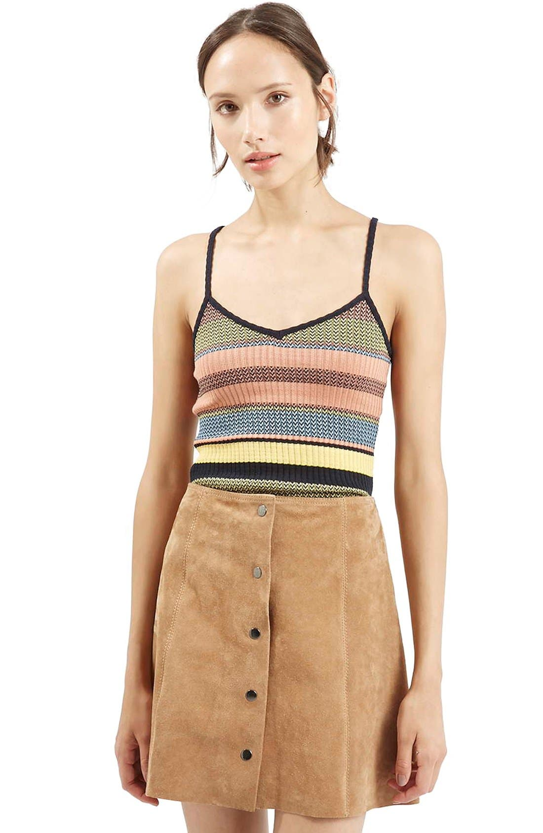 Alternate Image 1 Selected - Topshop Chevron Stripe V-Neck Camisole