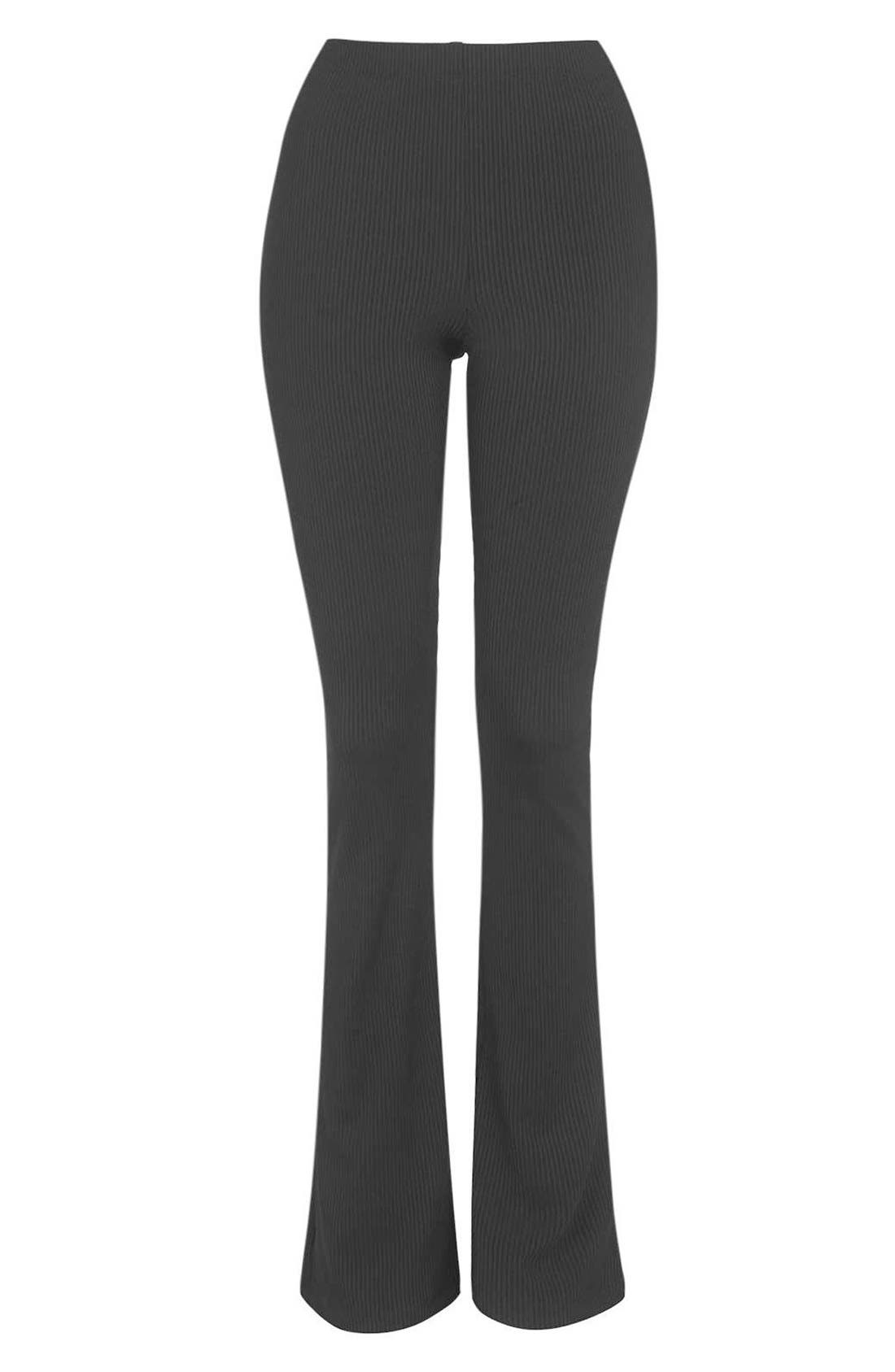 Ribbed Flare Pants,                             Alternate thumbnail 4, color,                             Black