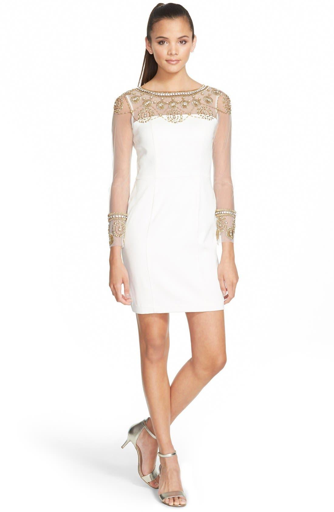 Main Image - a. dreaEmbellished Illusion Body-Con Dress