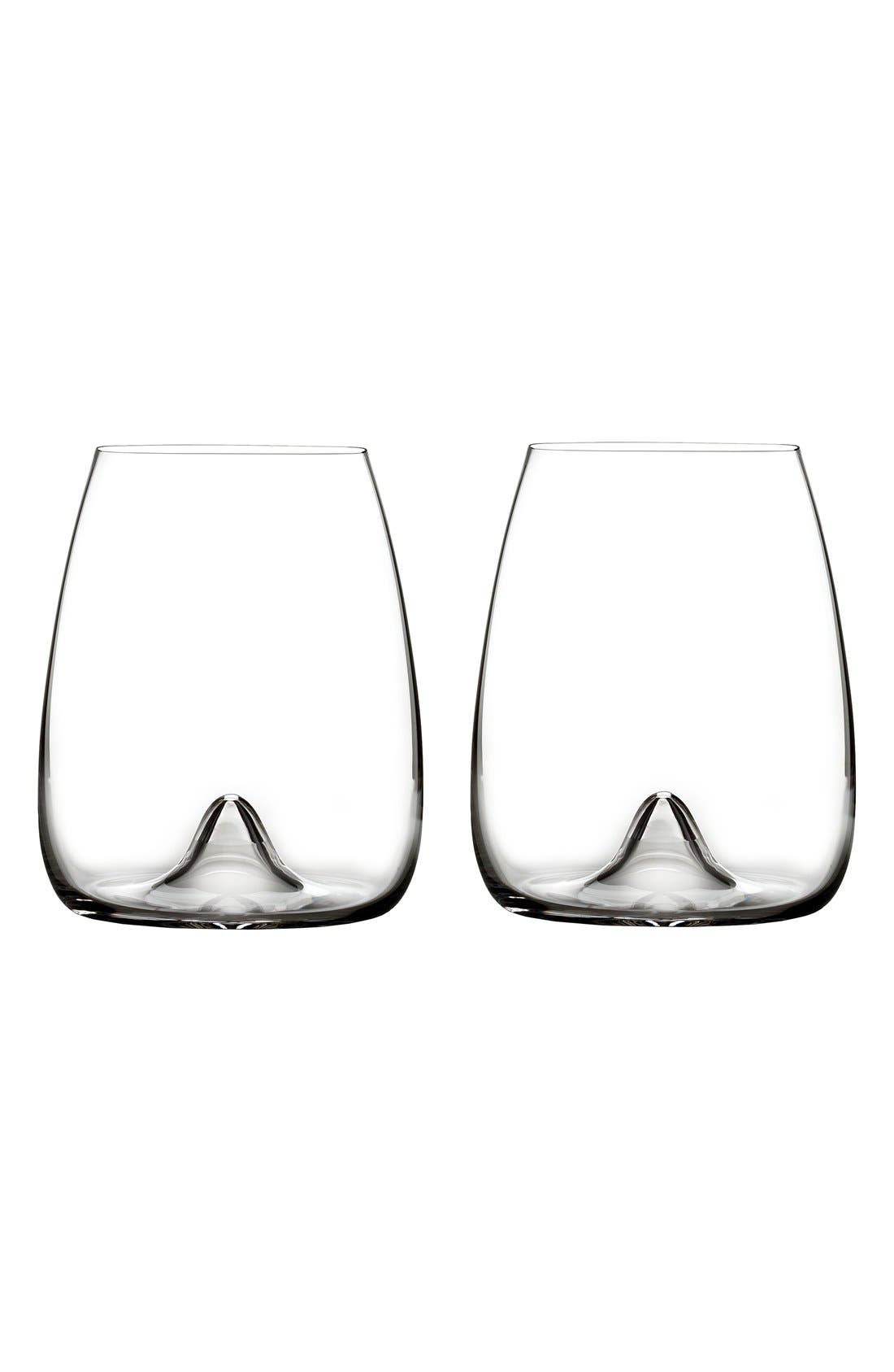 Elegance Set of 2 Fine Crystal Stemless Wine Glasses,                             Main thumbnail 1, color,                             Clear