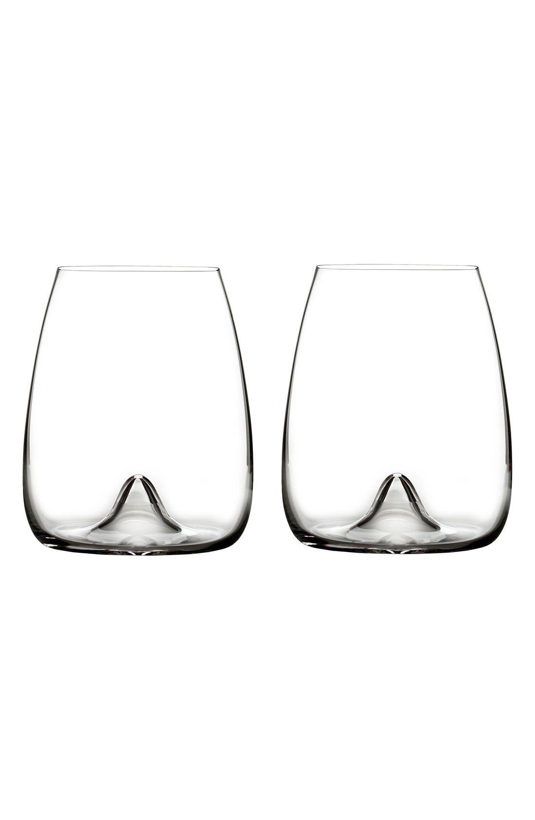 Elegance Set of 2 Fine Crystal Stemless Wine Glasses,                         Main,                         color, Clear