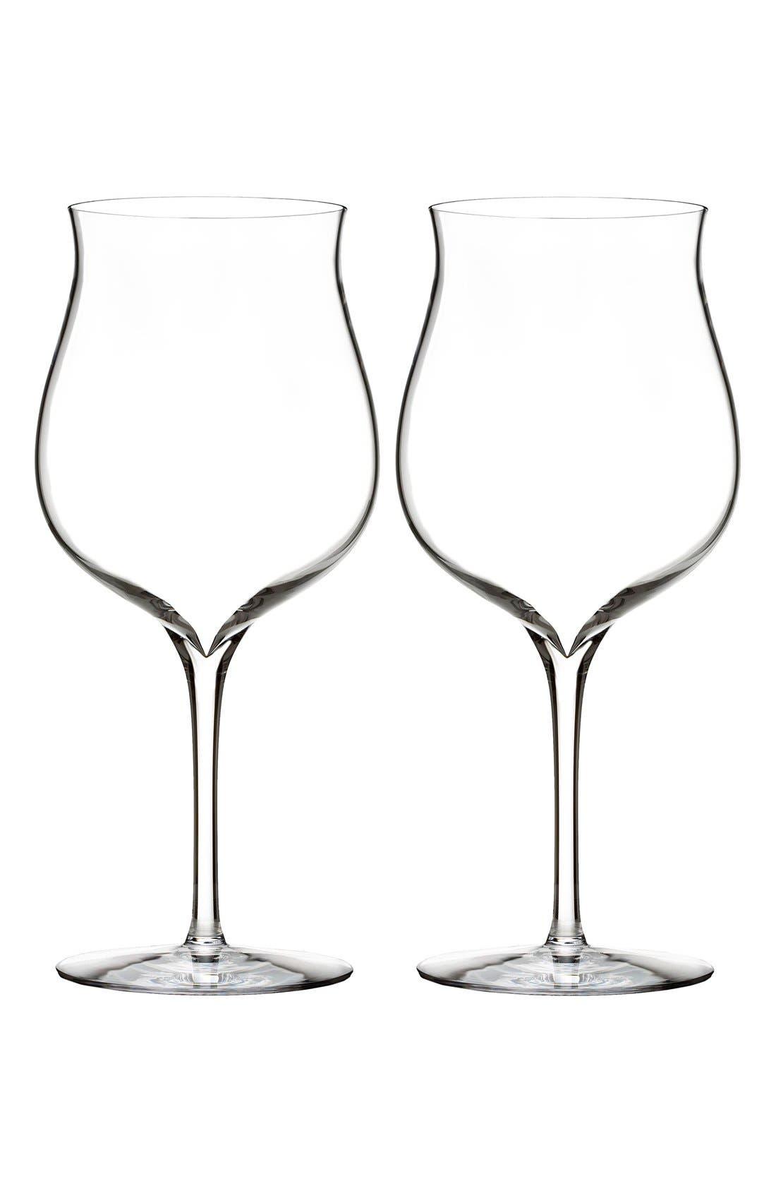 Elegance Set of 2 Fine Crystal Burgundy Wine Glasses,                         Main,                         color, Clear