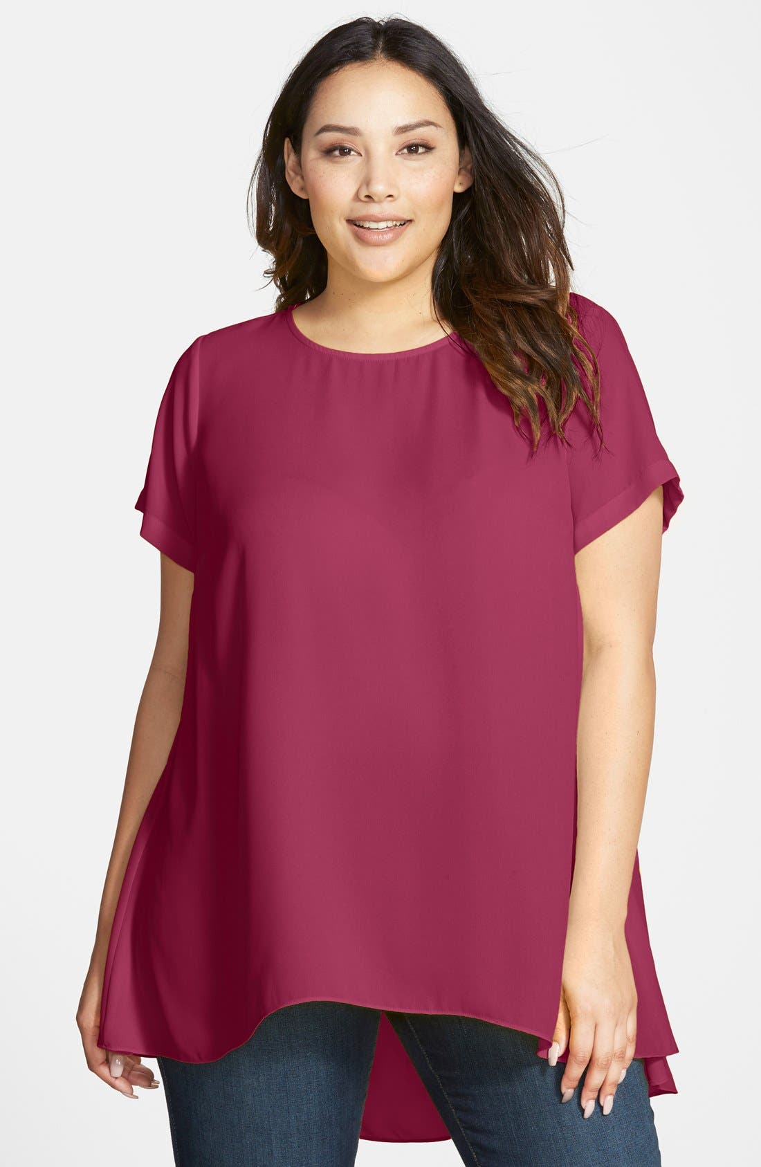Alternate Image 1 Selected - Vince Camuto Short Sleeve High/Low Hem Blouse (Plus Size)