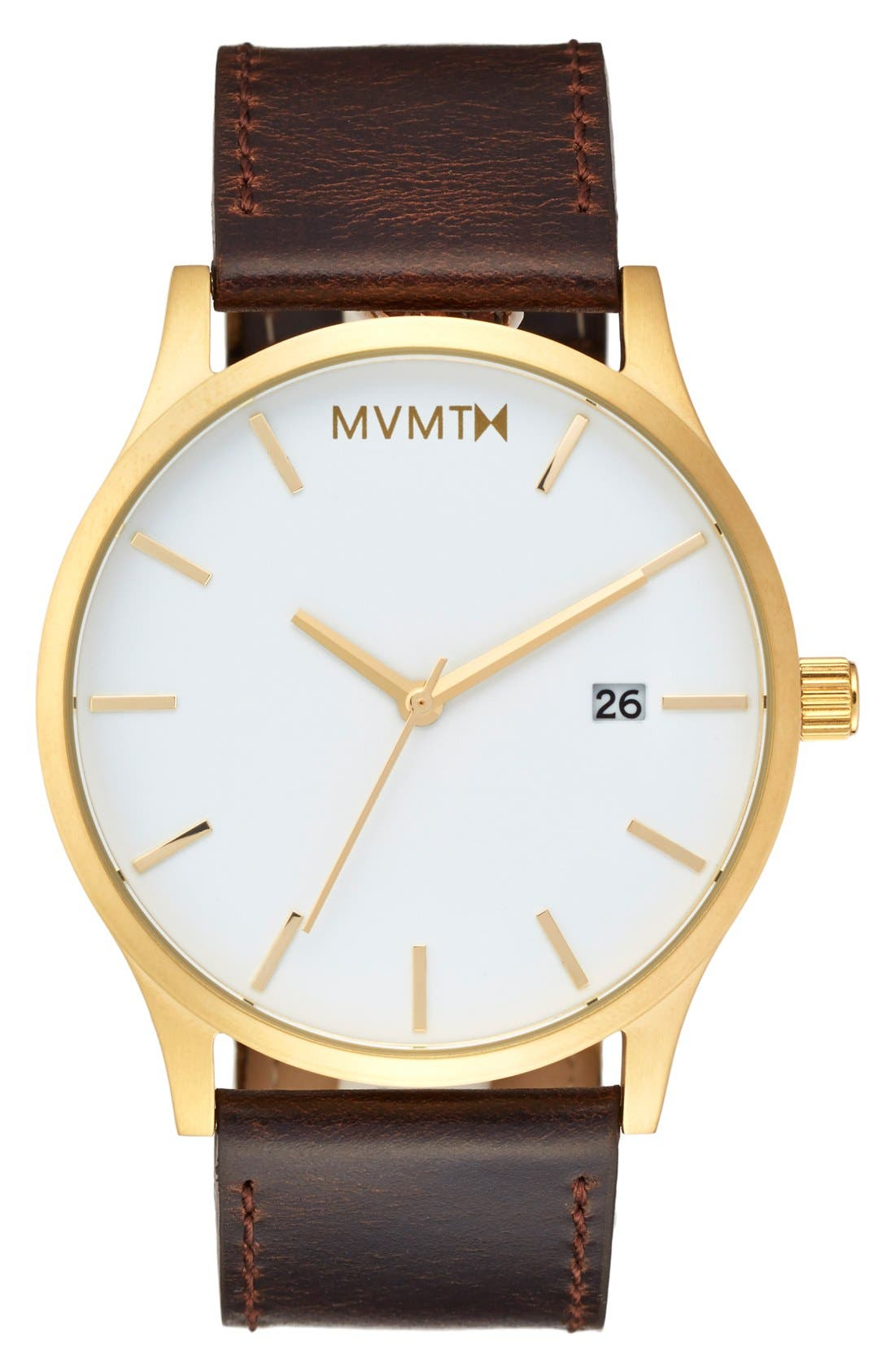 Leather Strap Watch, 45mm,                         Main,                         color, Gold/ White