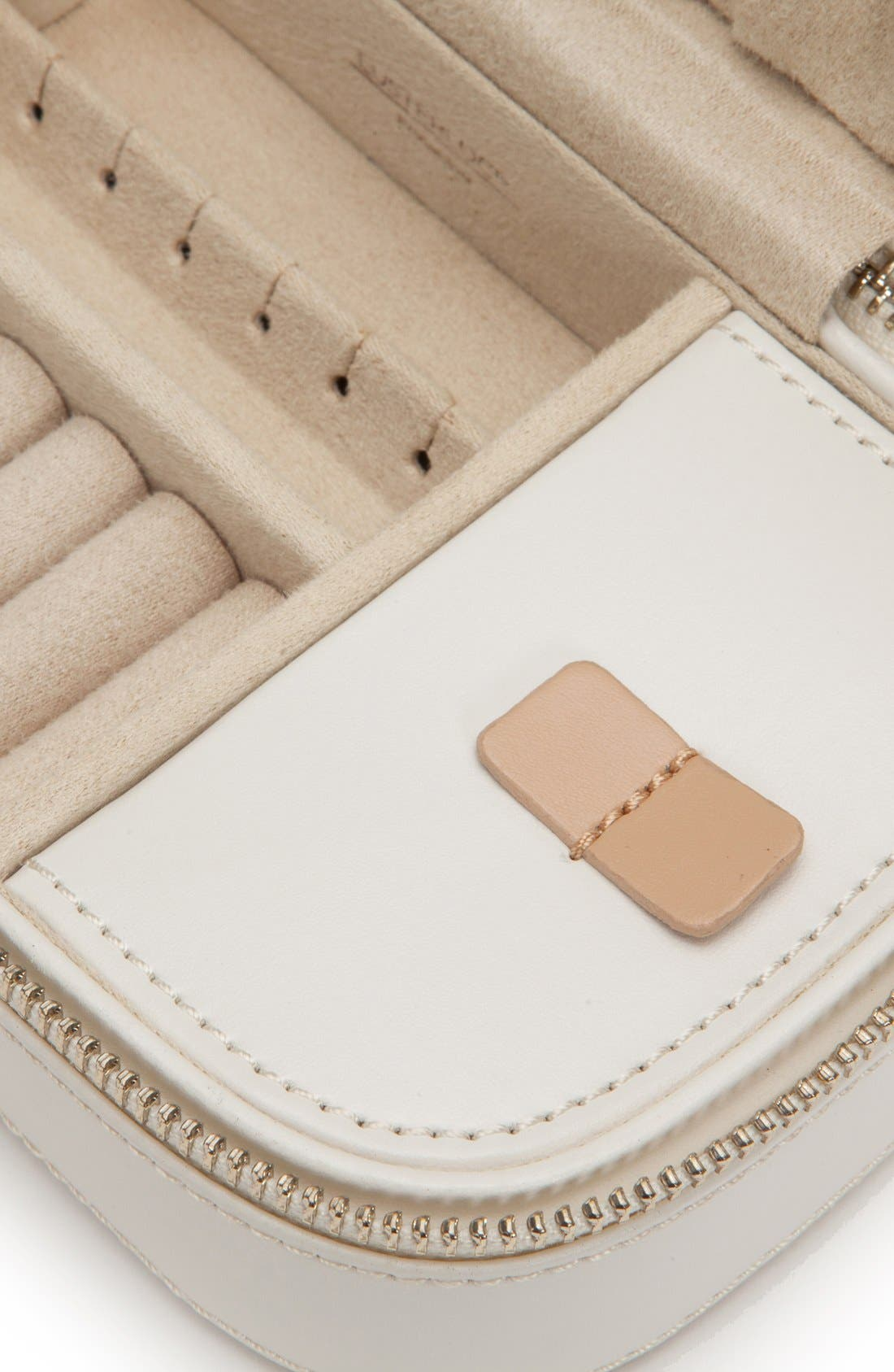 'Chloe' Zip Jewelry Case,                             Alternate thumbnail 3, color,                             Cream