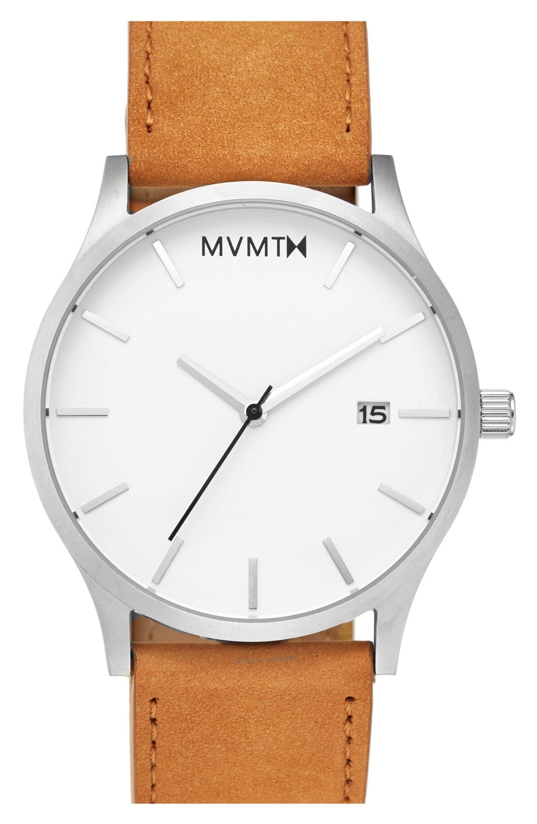 Leather Strap Watch, 45mm,                         Main,                         color, Tan/ Steel