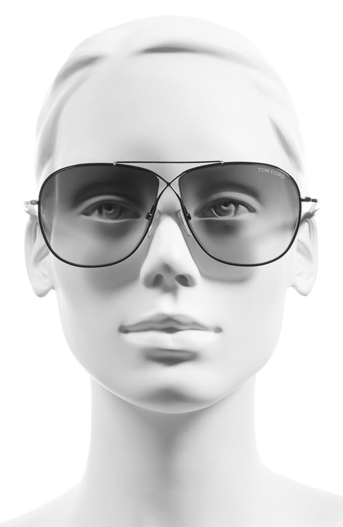 'April' 61mm Retro Sunglasses,                             Alternate thumbnail 2, color,                             Ruthenium/ Gradient Smoke