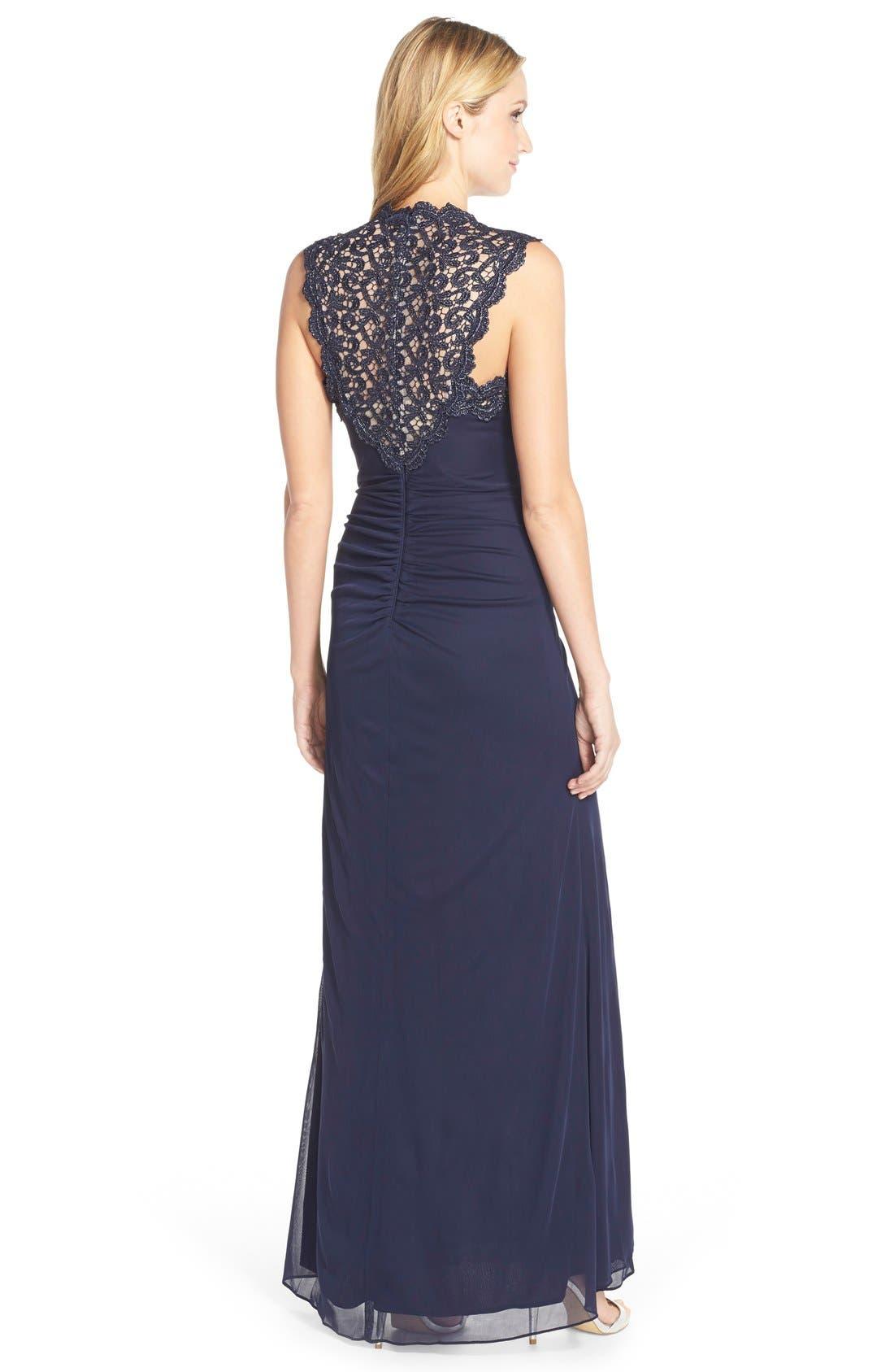 Alternate Image 2  - Xscape Metallic Lace & Jersey Gown