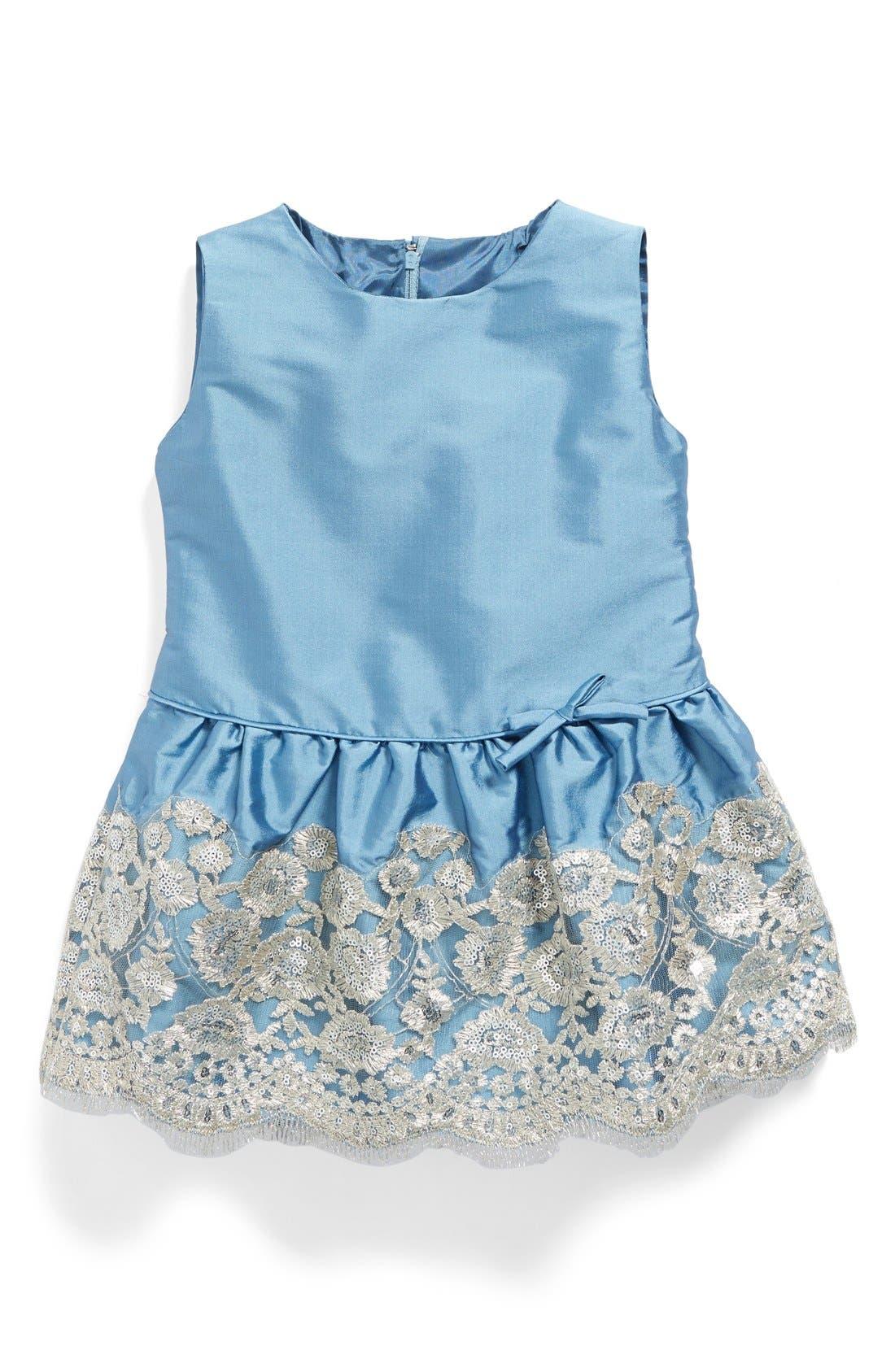 Drop Waist Dress,                             Main thumbnail 1, color,                             Sky Taffeta