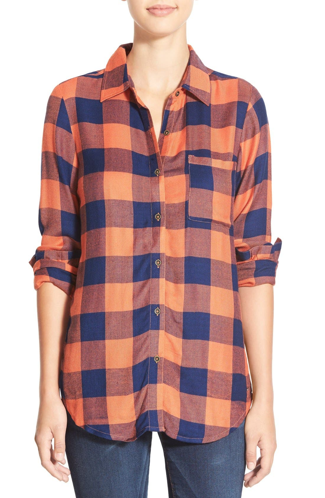 Alternate Image 1 Selected - Rip Curl 'Dweller' Lace Back Flannel Shirt
