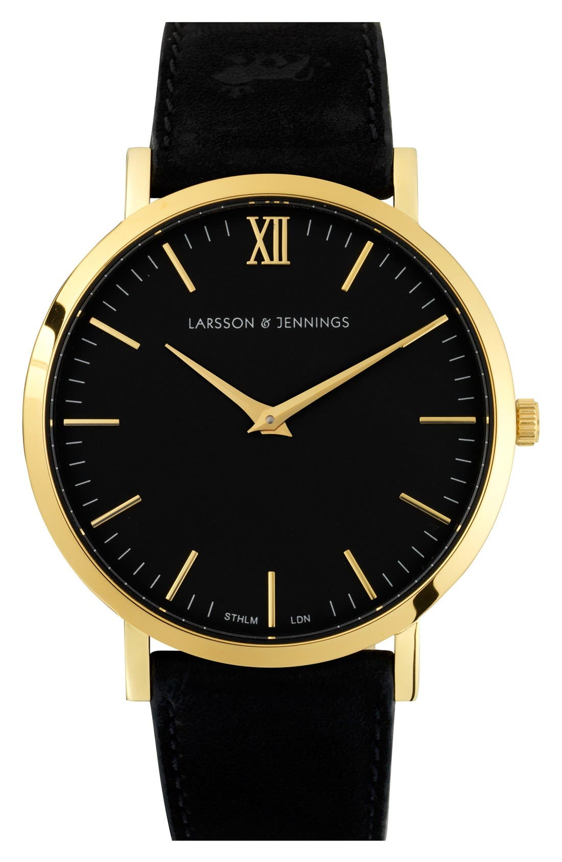 Alternate Image 1 Selected - Larsson & Jennings 'Lugano' Short Strap Leather Watch, 40mm
