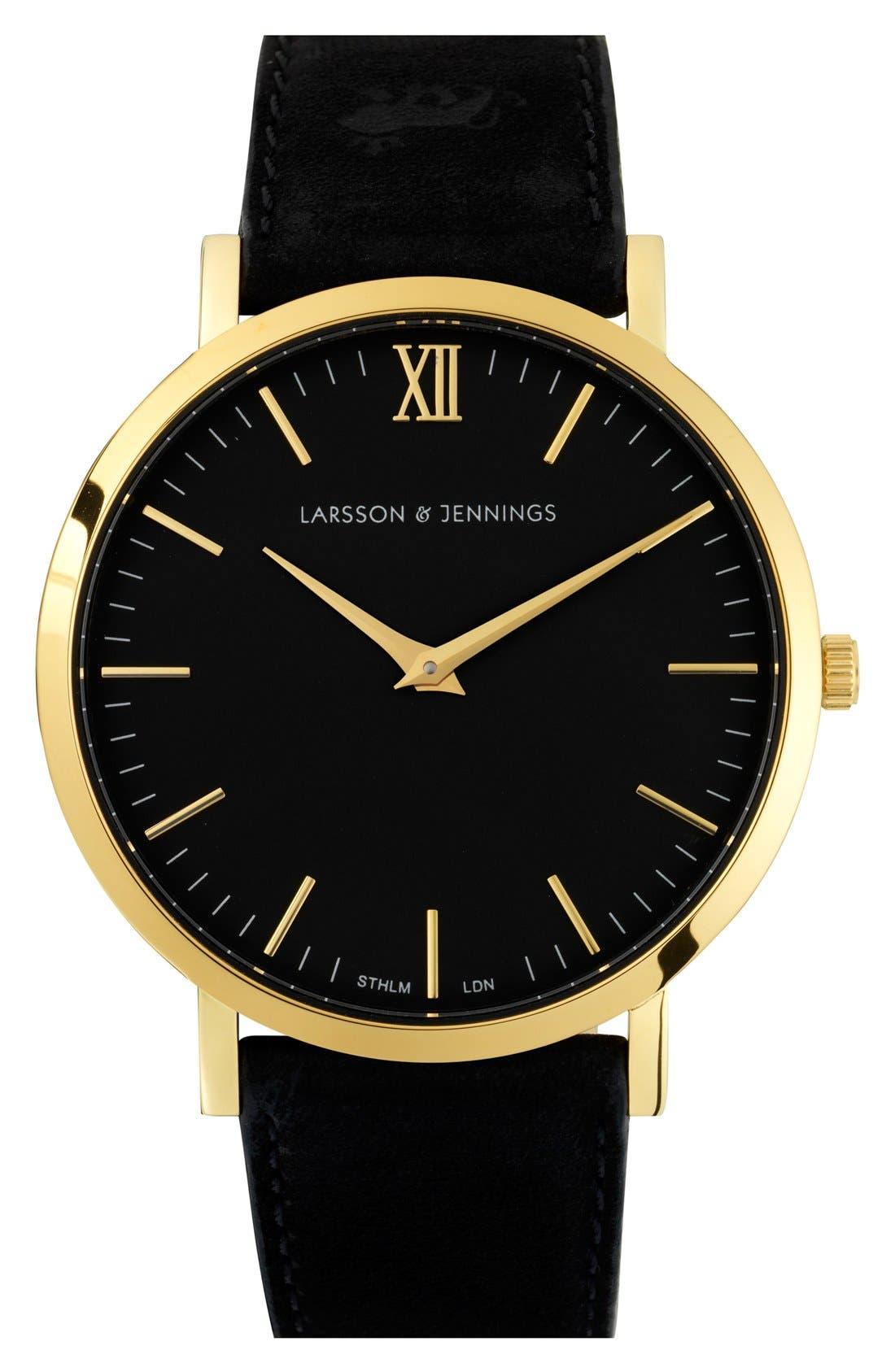 Main Image - Larsson & Jennings 'Lugano' Short Strap Leather Watch, 40mm