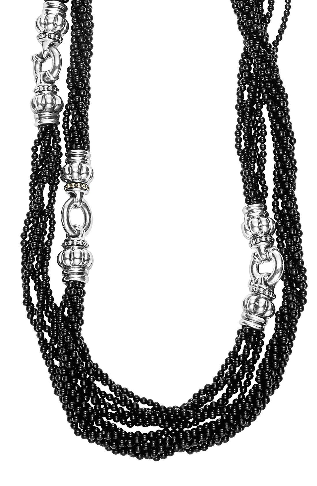 'Black Caviar' Beaded Necklace,                             Alternate thumbnail 2, color,                             Black Caviar/ Silver