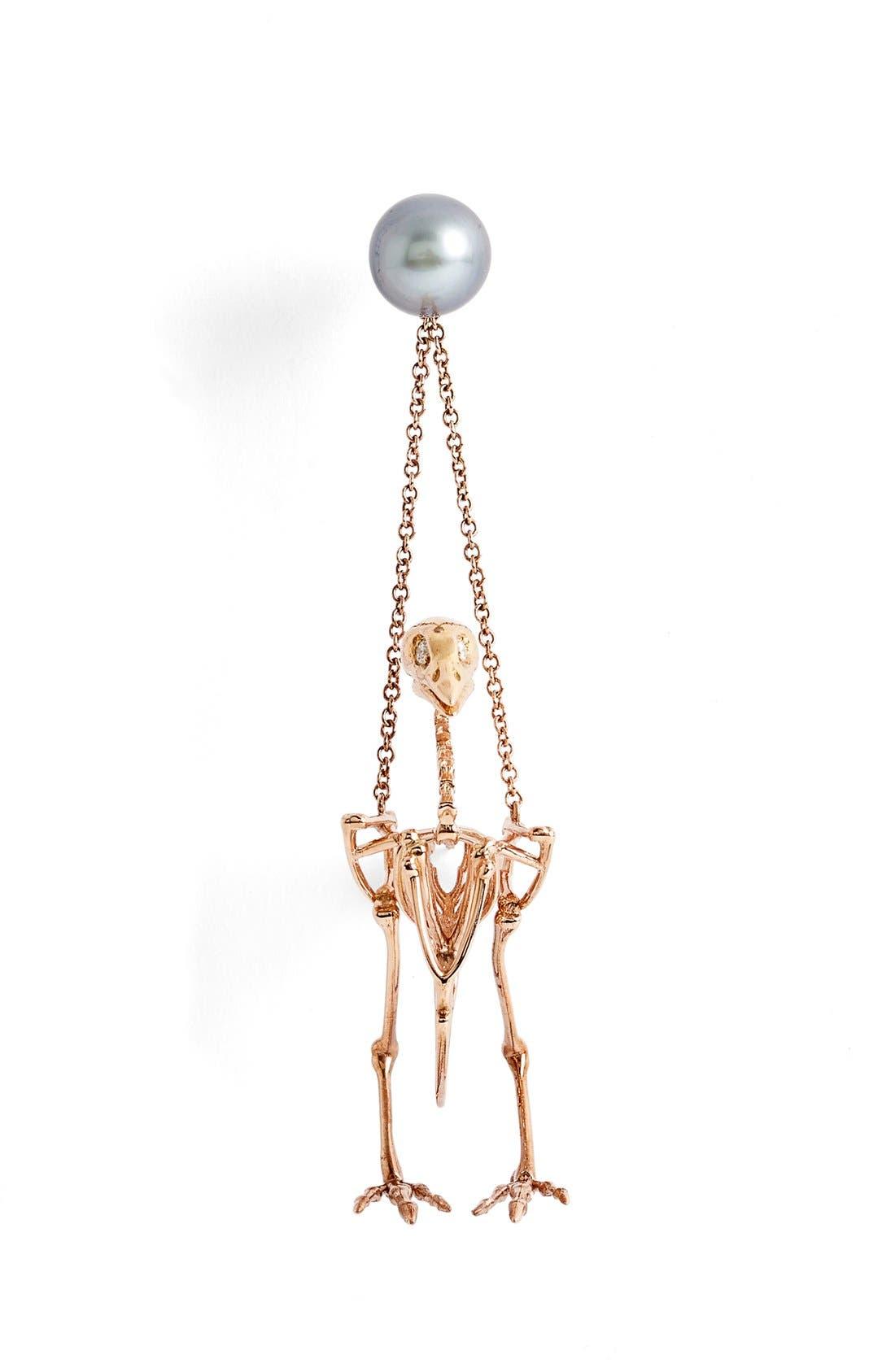 South Sea Pearl & Diamond Small Quail Earring,                             Alternate thumbnail 2, color,                             Rose Gold/ Pearl