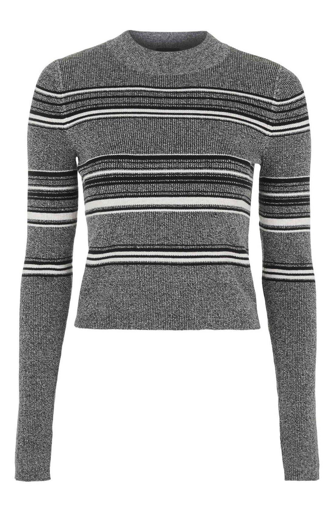 Alternate Image 1 Selected - TopshopStripe Crop Sweater