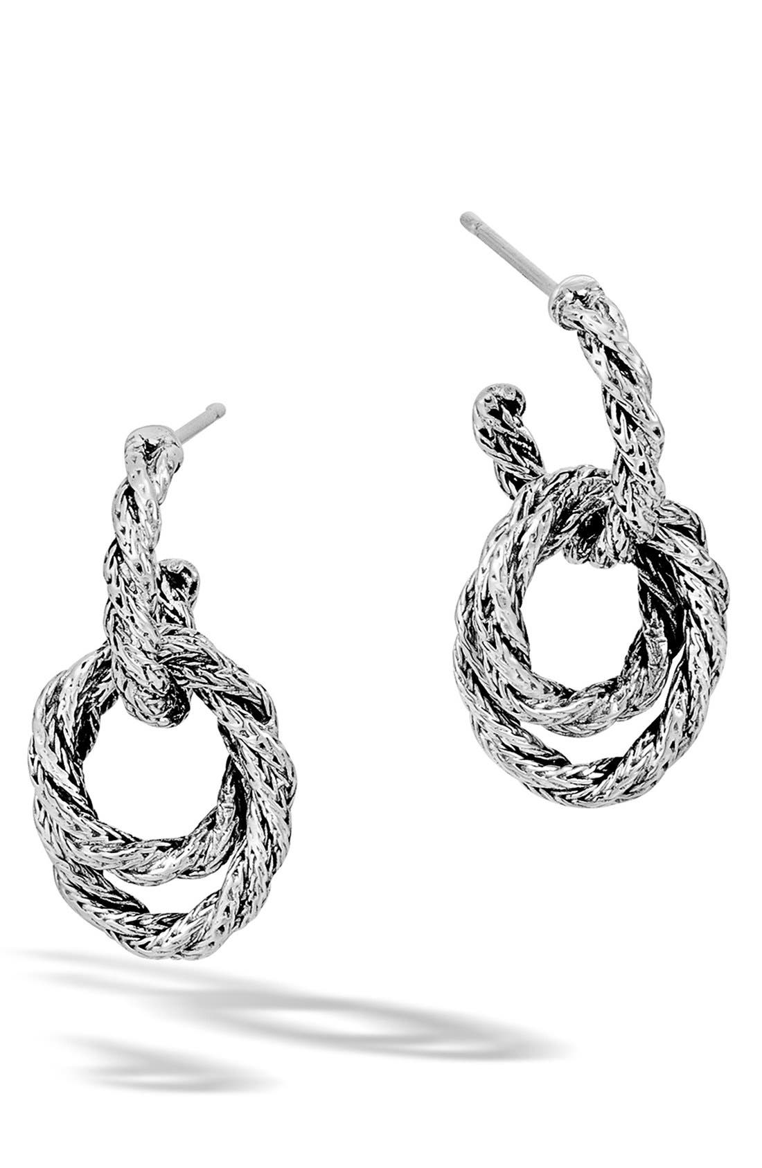 'Classic Chain' Double Twisted Hoop Earrings,                             Main thumbnail 1, color,                             Silver