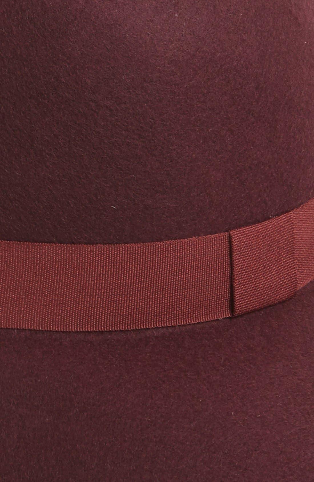 Ribbon Trim Felt Floppy Hat,                             Alternate thumbnail 2, color,                             Burgundy