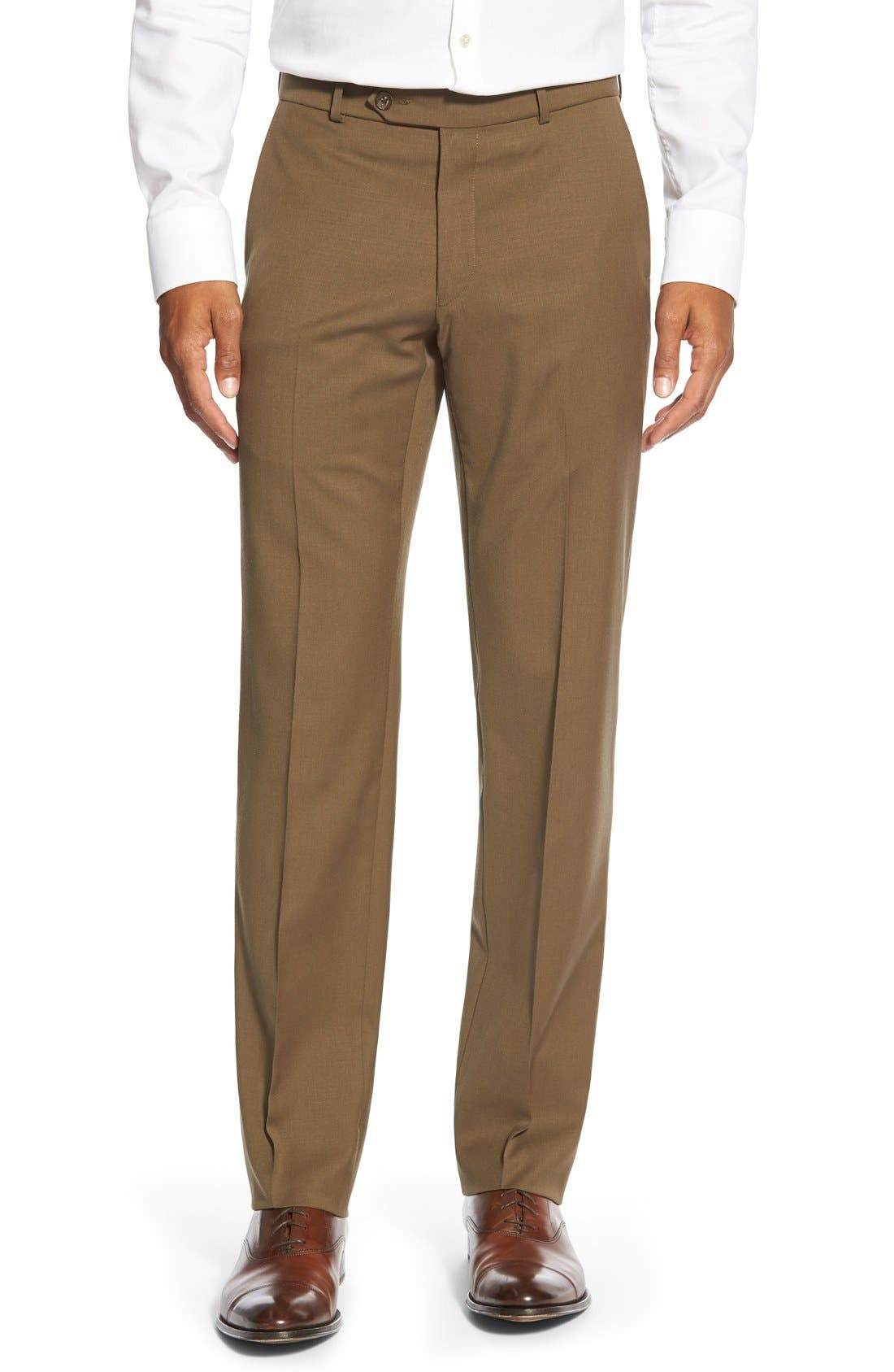 BALLIN Flat Front Solid Wool Trousers in Saddle