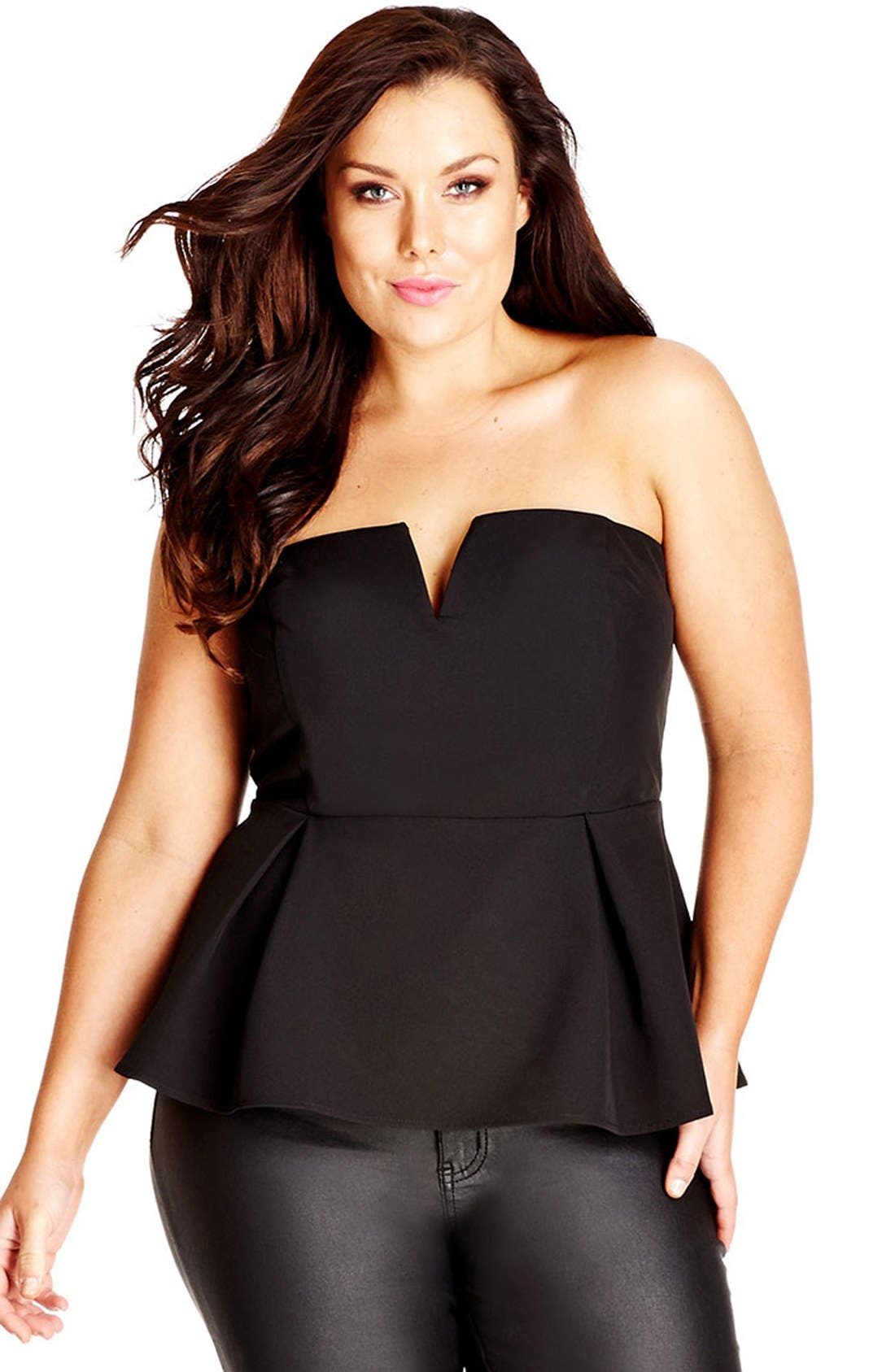 City Chic 'Deep V' Strapless Corset Top (Plus Size)