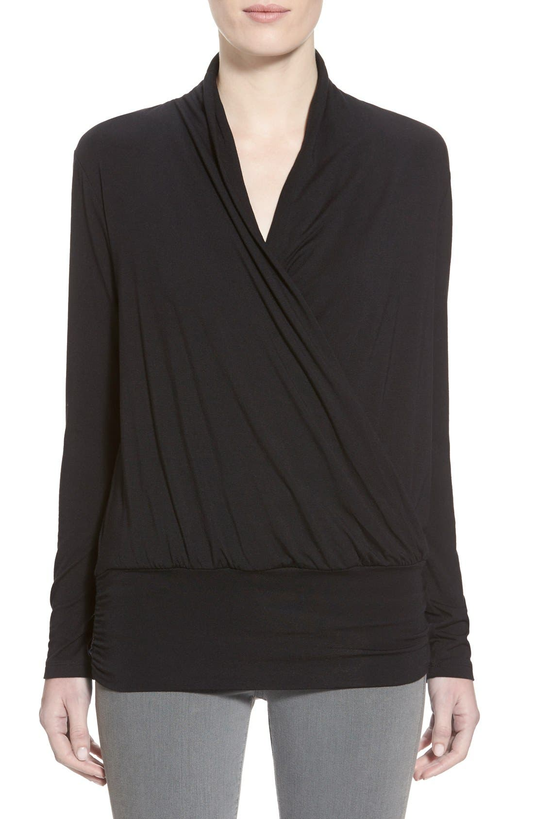 Amour Vert'Angela' Long Sleeve Wrap Front Top