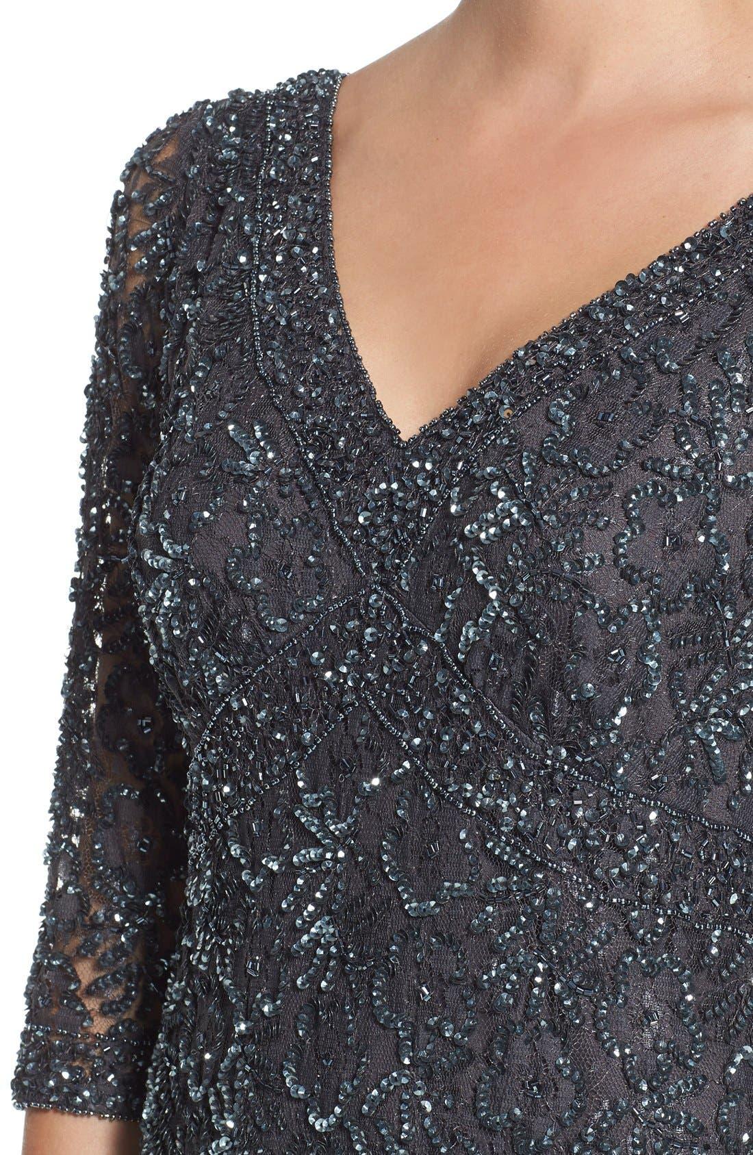 Alternate Image 4  - Pisarro Nights Beaded Mesh Dress (Regular & Petite)