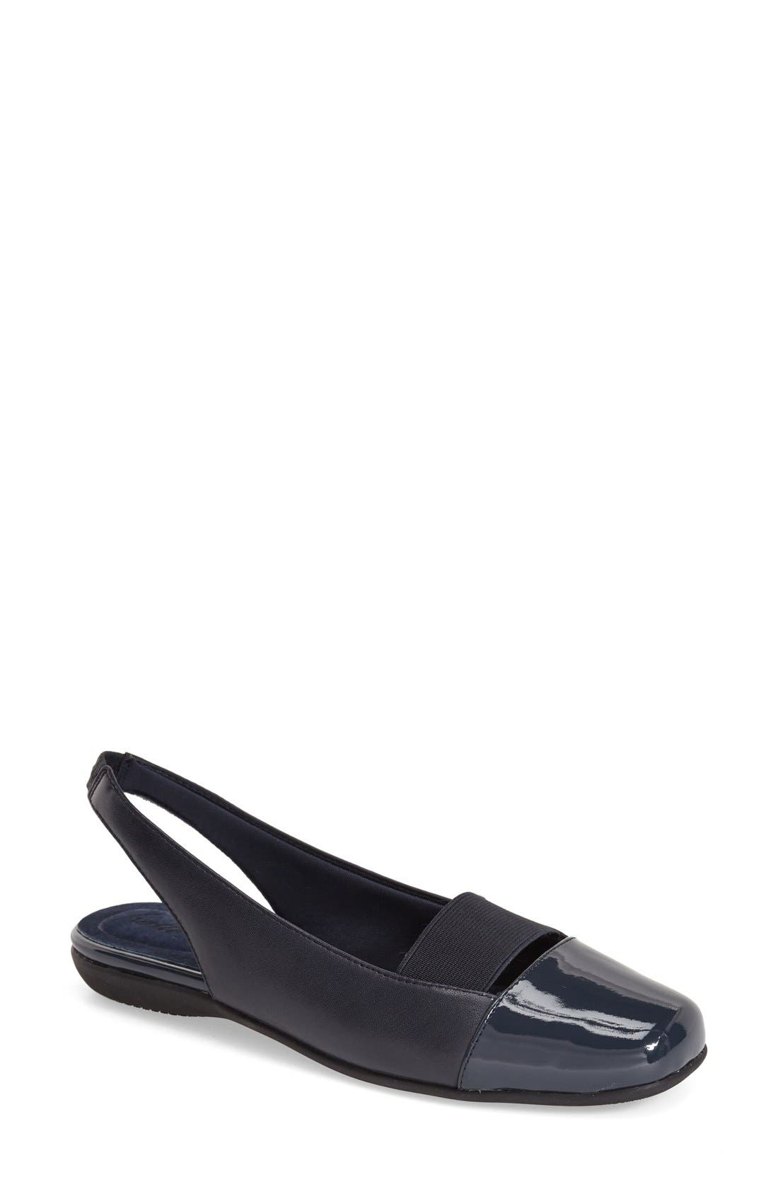 'Sarina' SlingbackFlat,                             Main thumbnail 1, color,                             Navy Leather