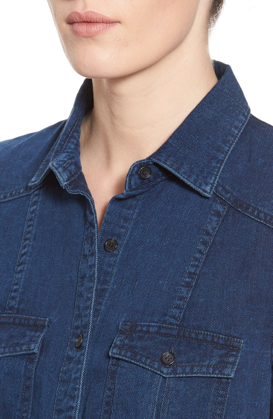 'Collector's - Leigh' Denim Shirt,                             Alternate thumbnail 4, color,                             Medium Wash