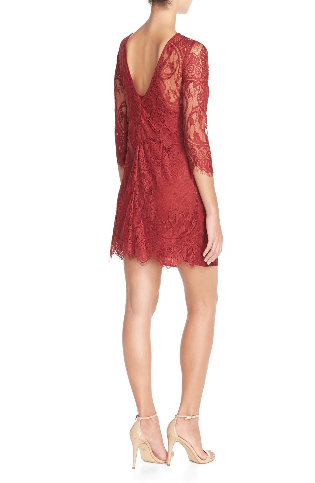 'Natalia' Lace Sheath Dress,                             Alternate thumbnail 2, color,                             Bordeaux