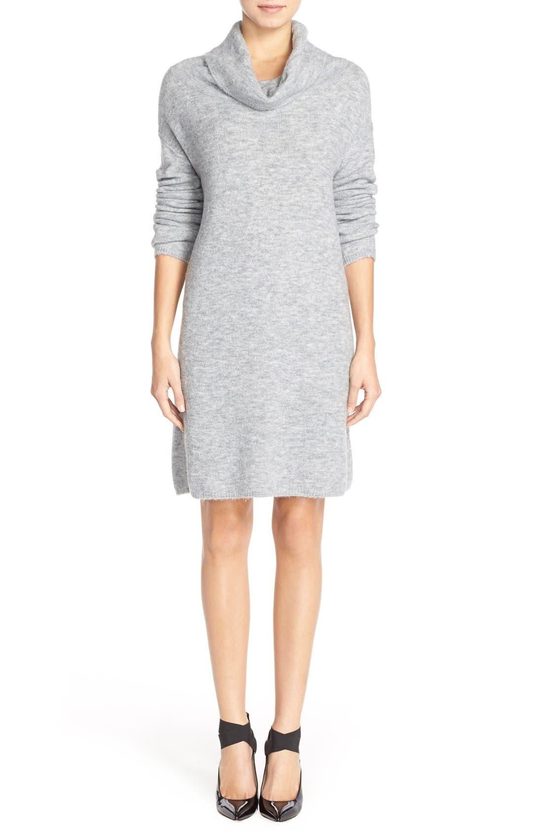 'Leighton' Turtleneck Sweater Dress,                             Alternate thumbnail 4, color,                             Grey