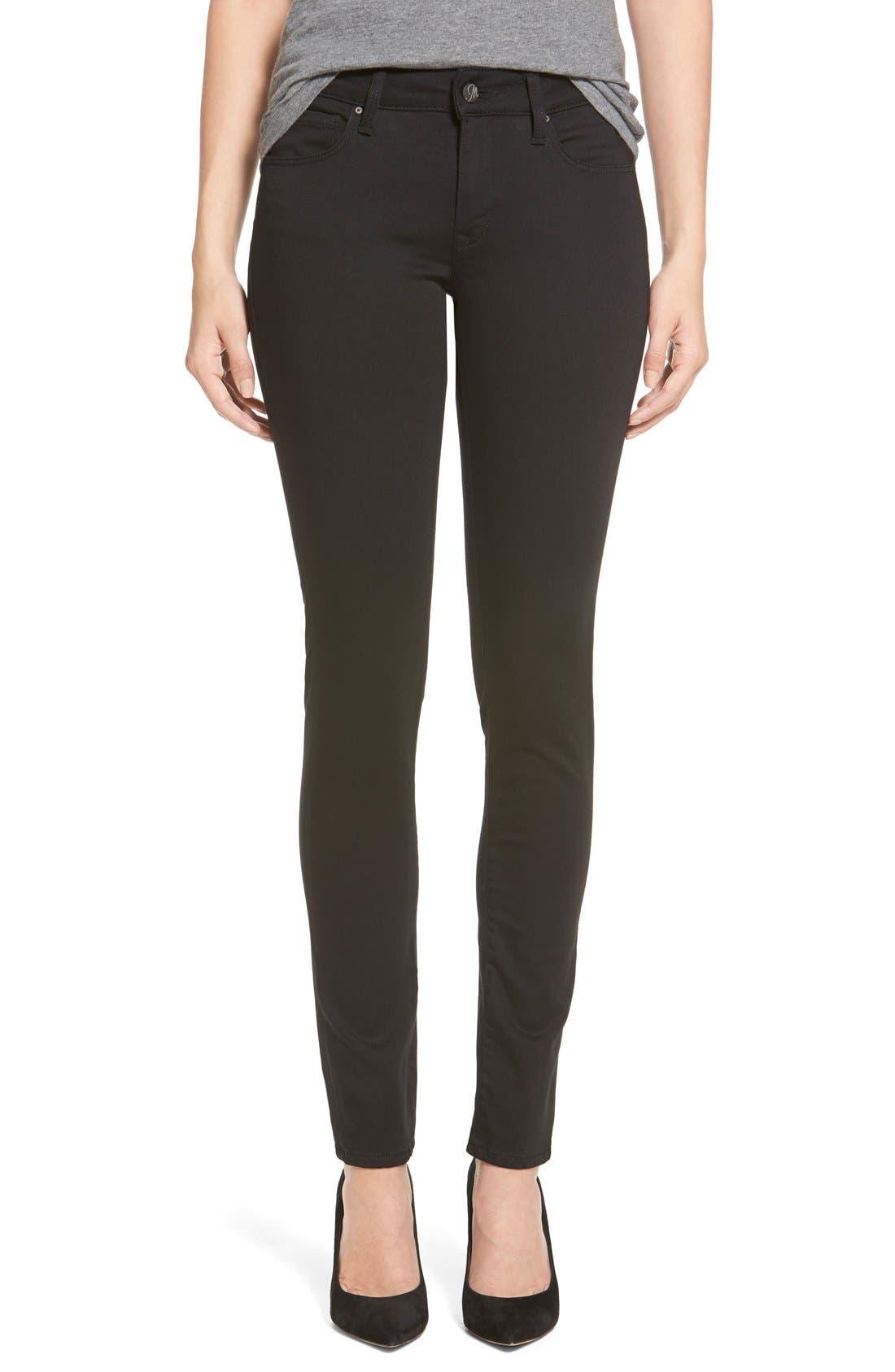 'Alexa' Mid Rise Skinny Jeans,                         Main,                         color, Jet Black