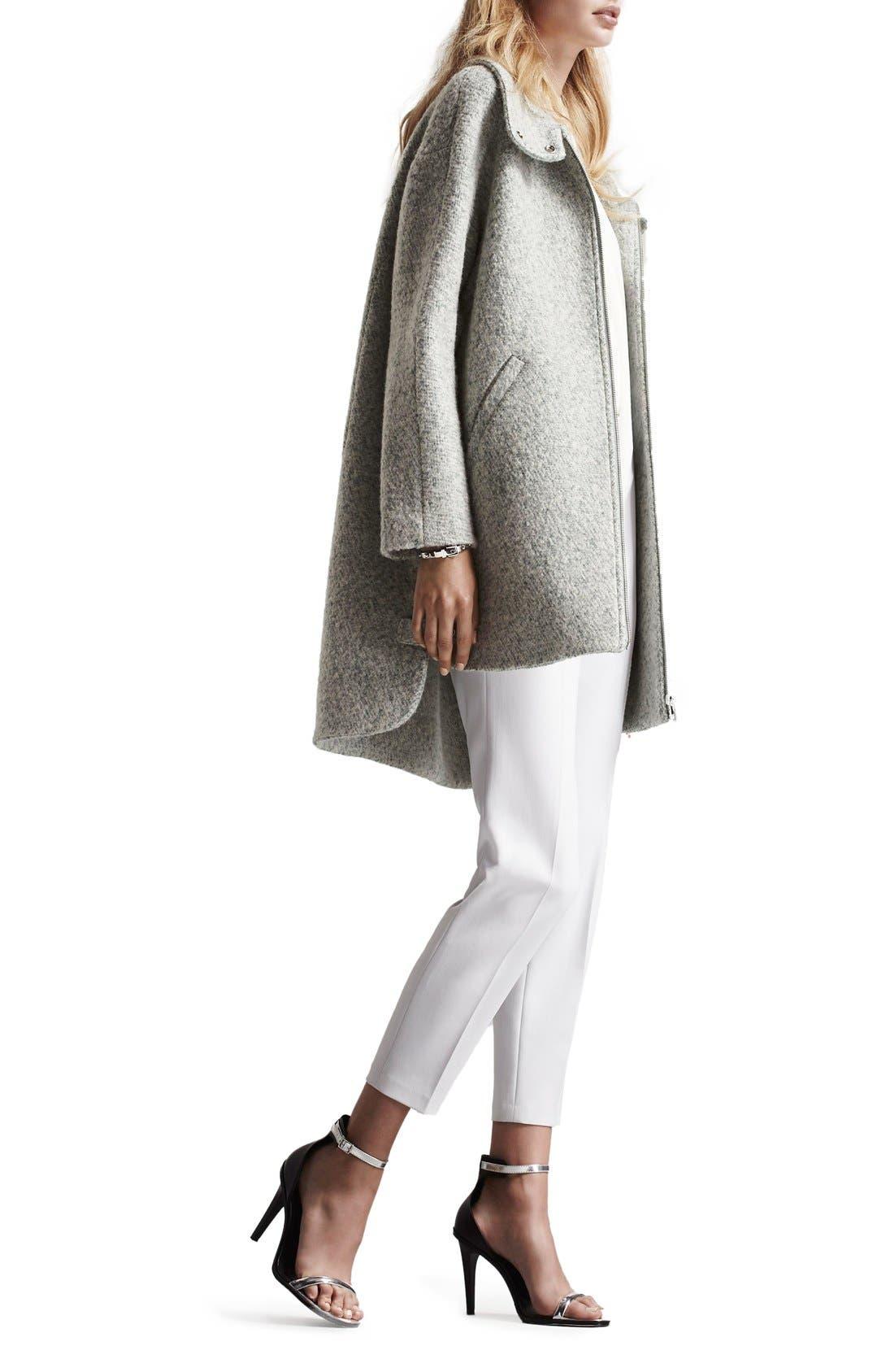 Zip Front Stand Collar Bouclé Coat,                             Alternate thumbnail 2, color,                             Mint